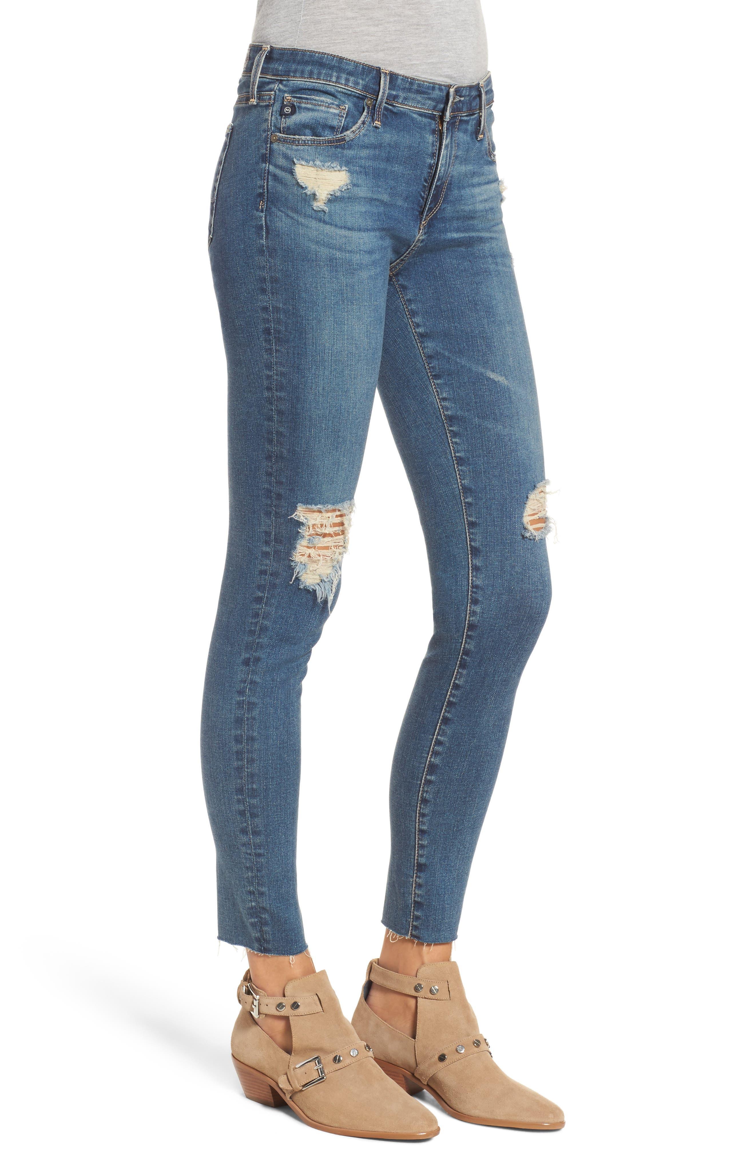 The Legging Ankle Super Skinny Jeans,                             Alternate thumbnail 3, color,                             Serendipitous Destructed