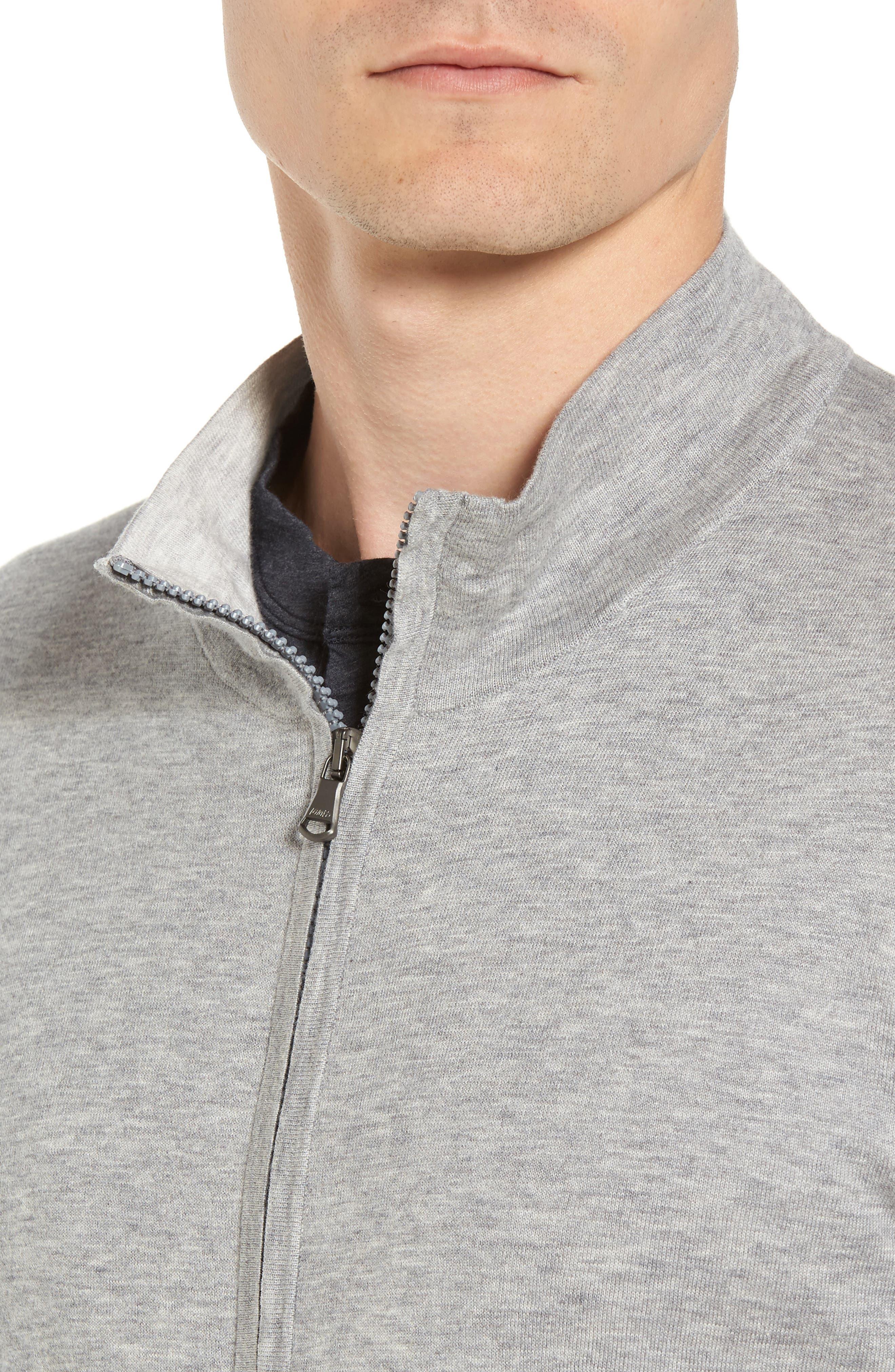 Mock Neck Zip Sweatshirt,                             Alternate thumbnail 4, color,                             Heather Grey/ Platinum