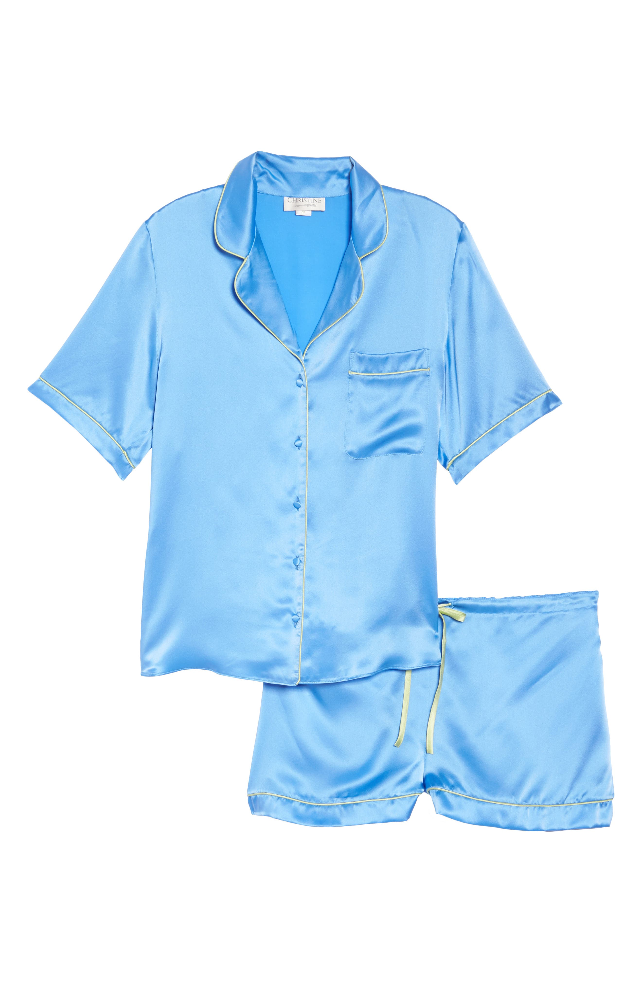 Silk Short Pajamas,                             Alternate thumbnail 6, color,                             Mediterranean Blue / Keylime