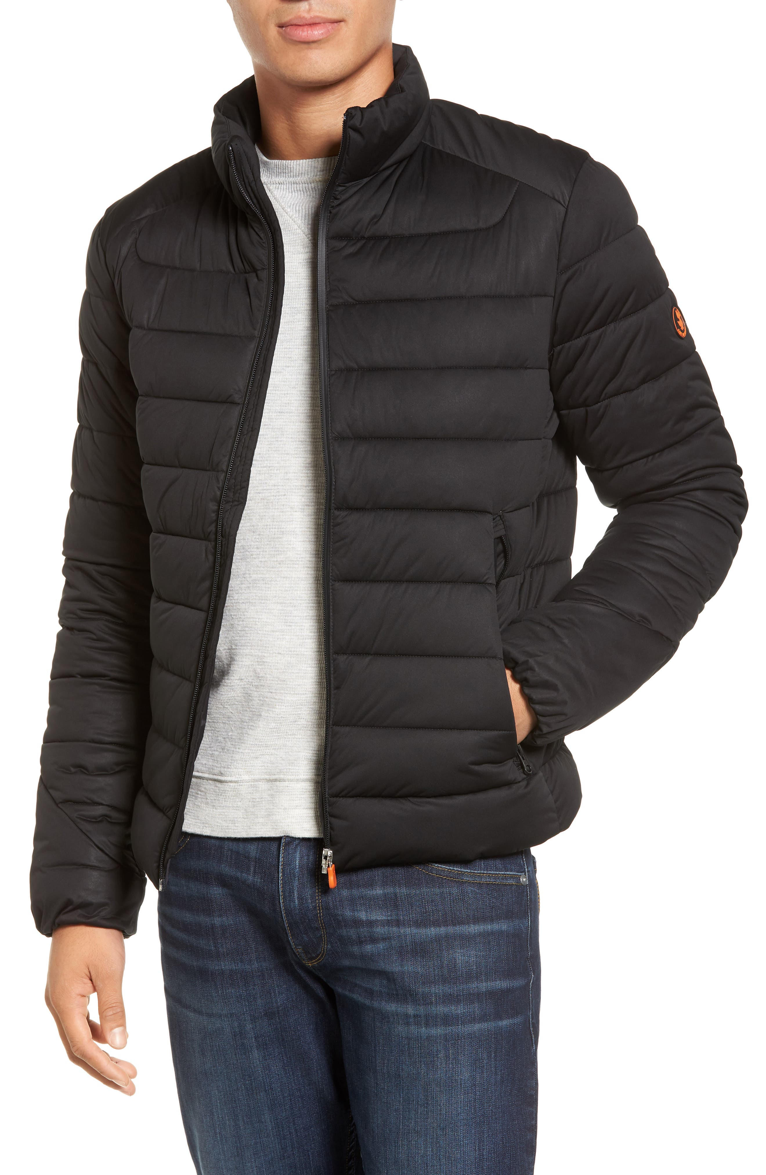 Water Resistant Puffer Jacket,                         Main,                         color, Black