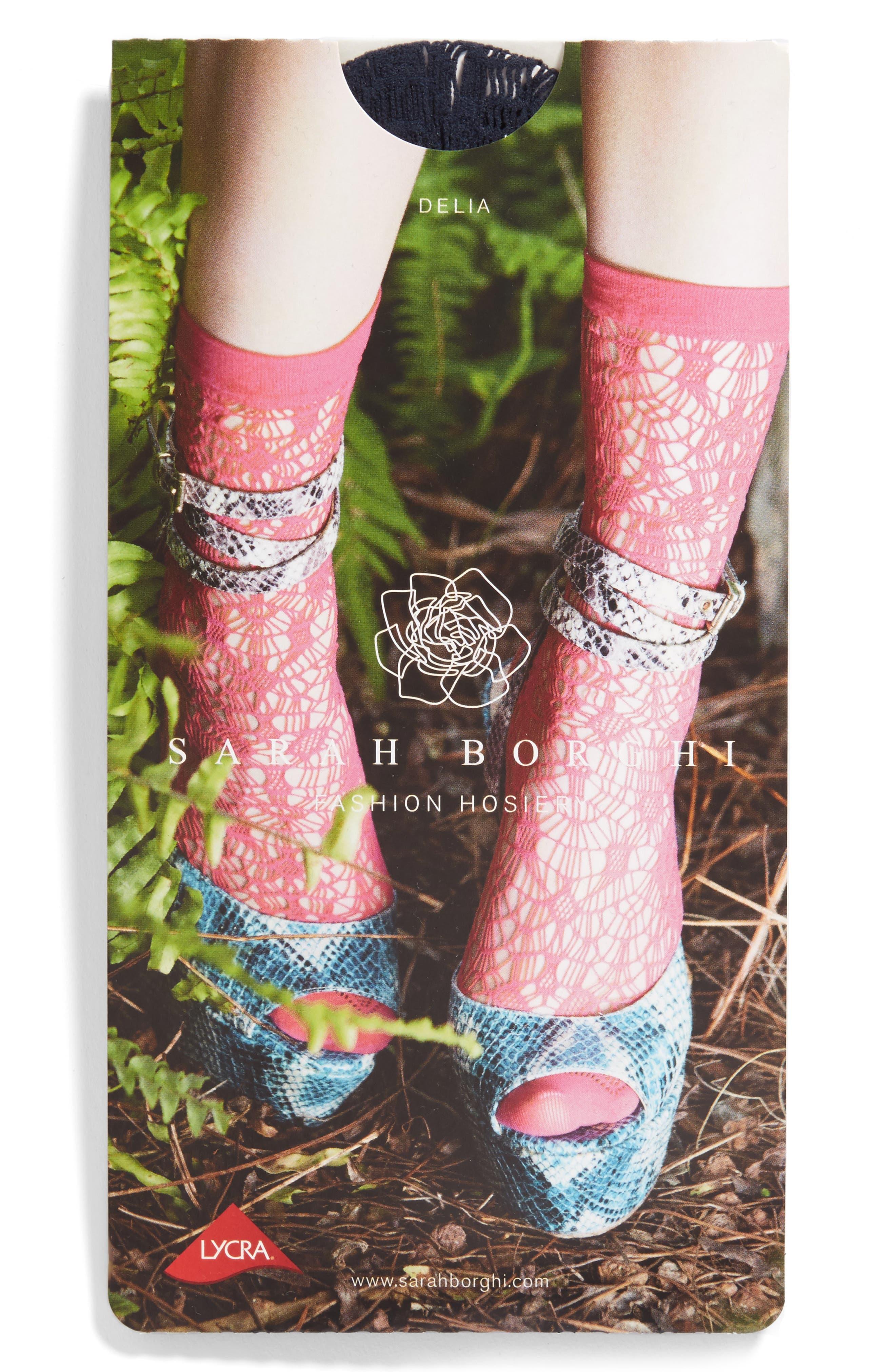 Delia Lace Socks,                             Alternate thumbnail 2, color,                             Dark Blue
