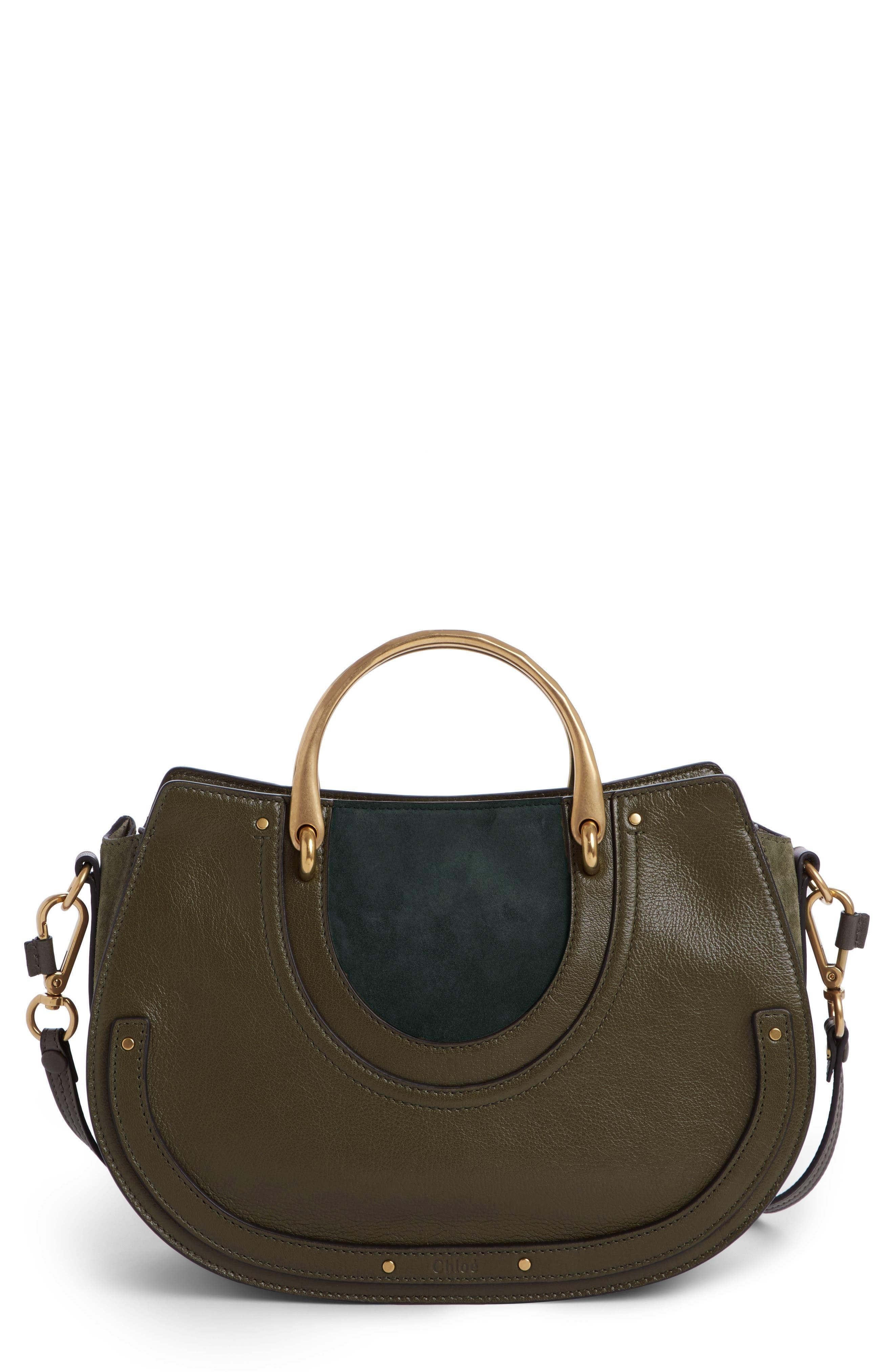 Medium Pixie Top Handle Leather Satchel,                         Main,                         color, Intense Green