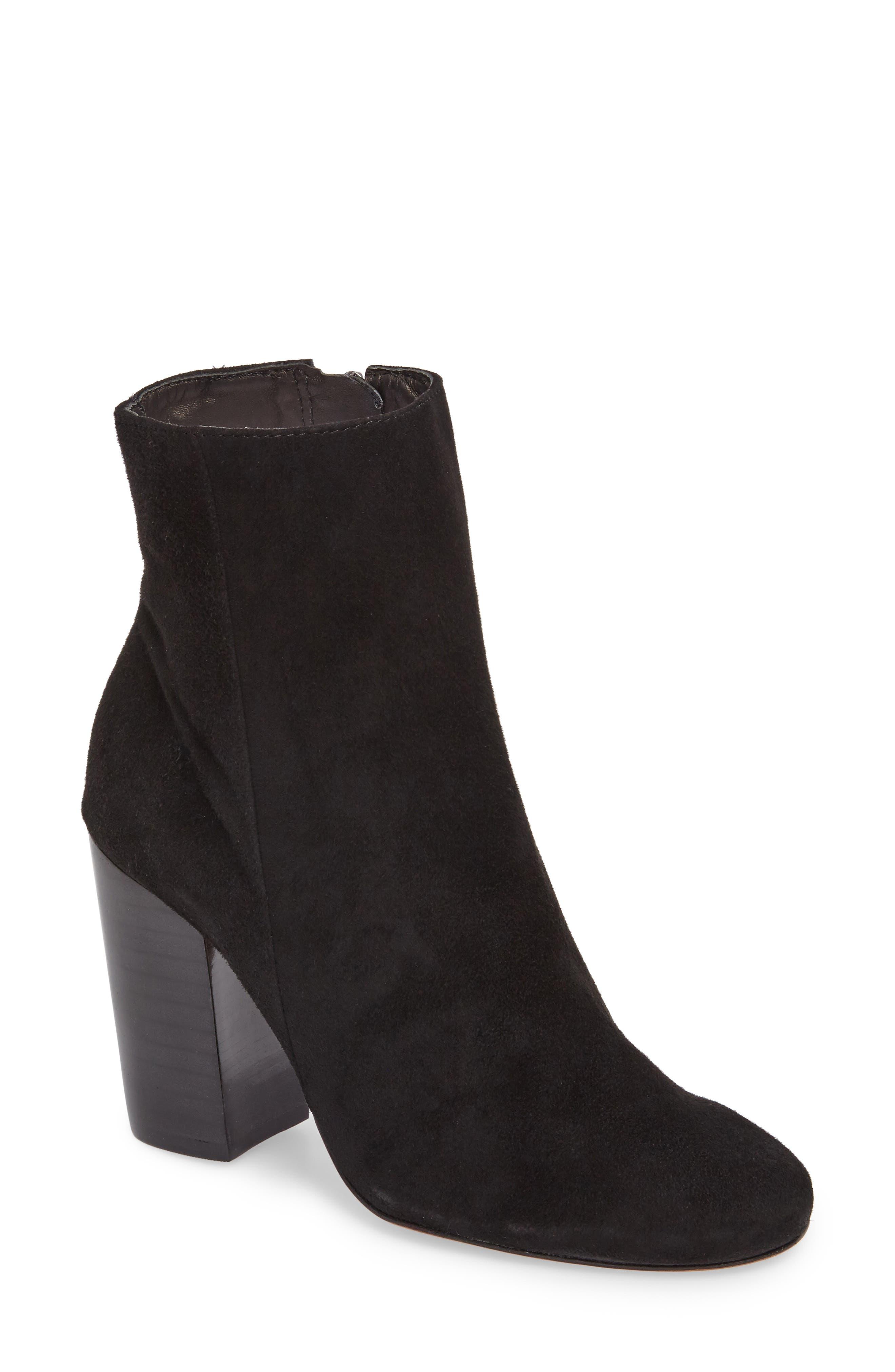 Ravan Block Heel Bootie,                         Main,                         color, Black Suede