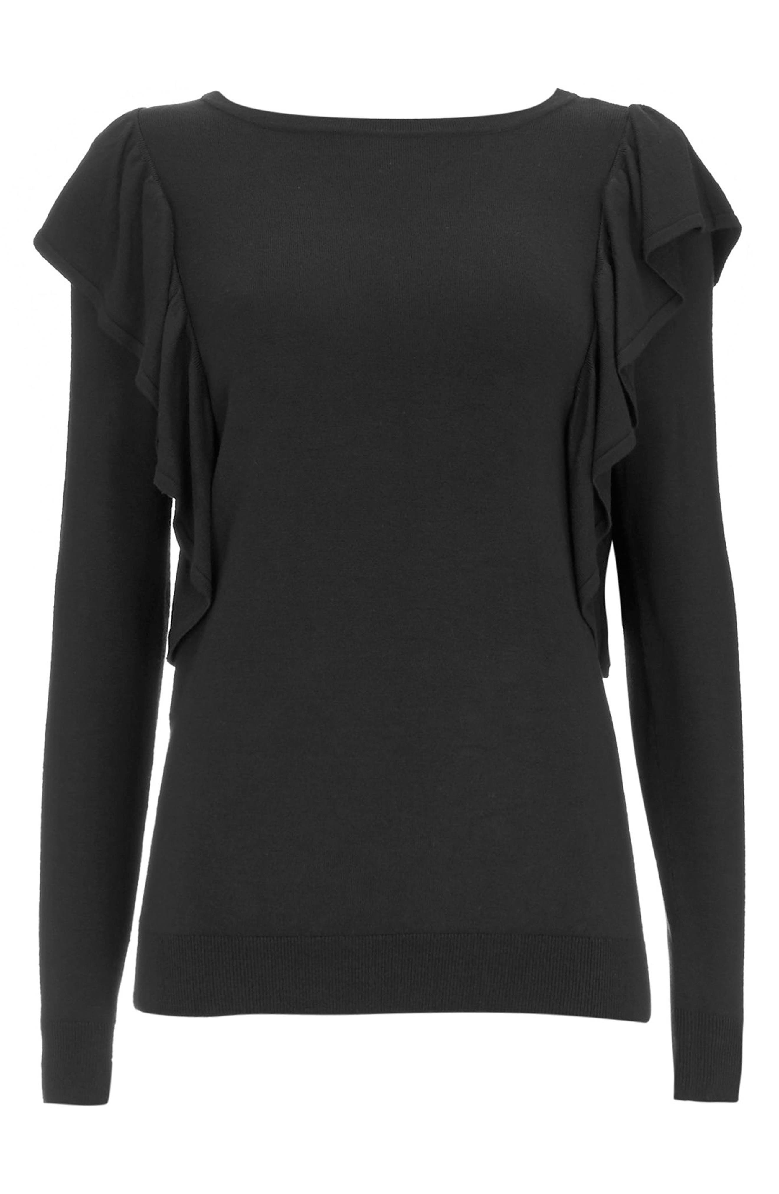 Long Sleeve Ruffle Shoulder Pullover,                             Alternate thumbnail 5, color,                             Black