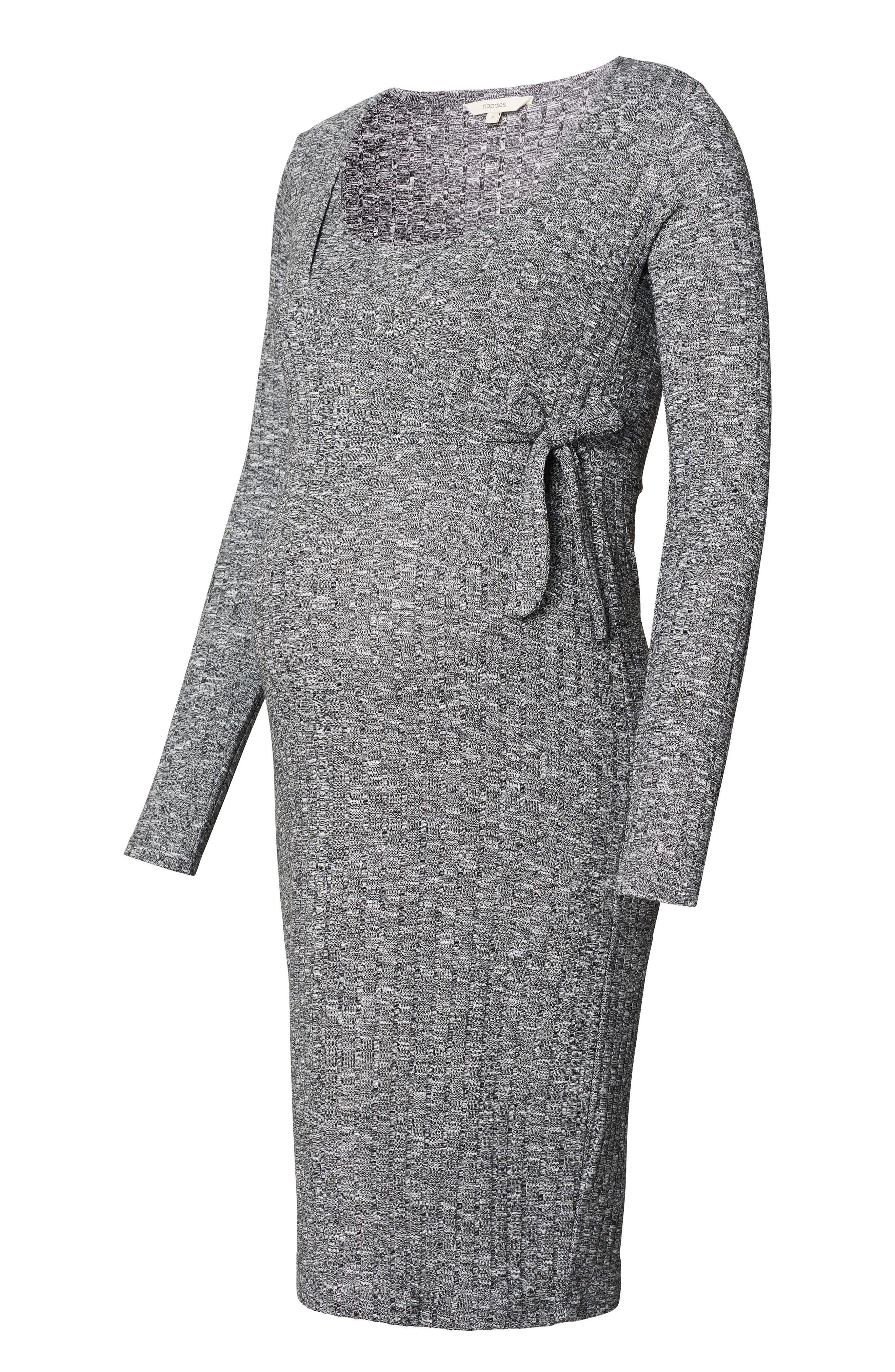 Giulia Maternity Sweater Dress,                             Alternate thumbnail 3, color,                             Anthracite Melange