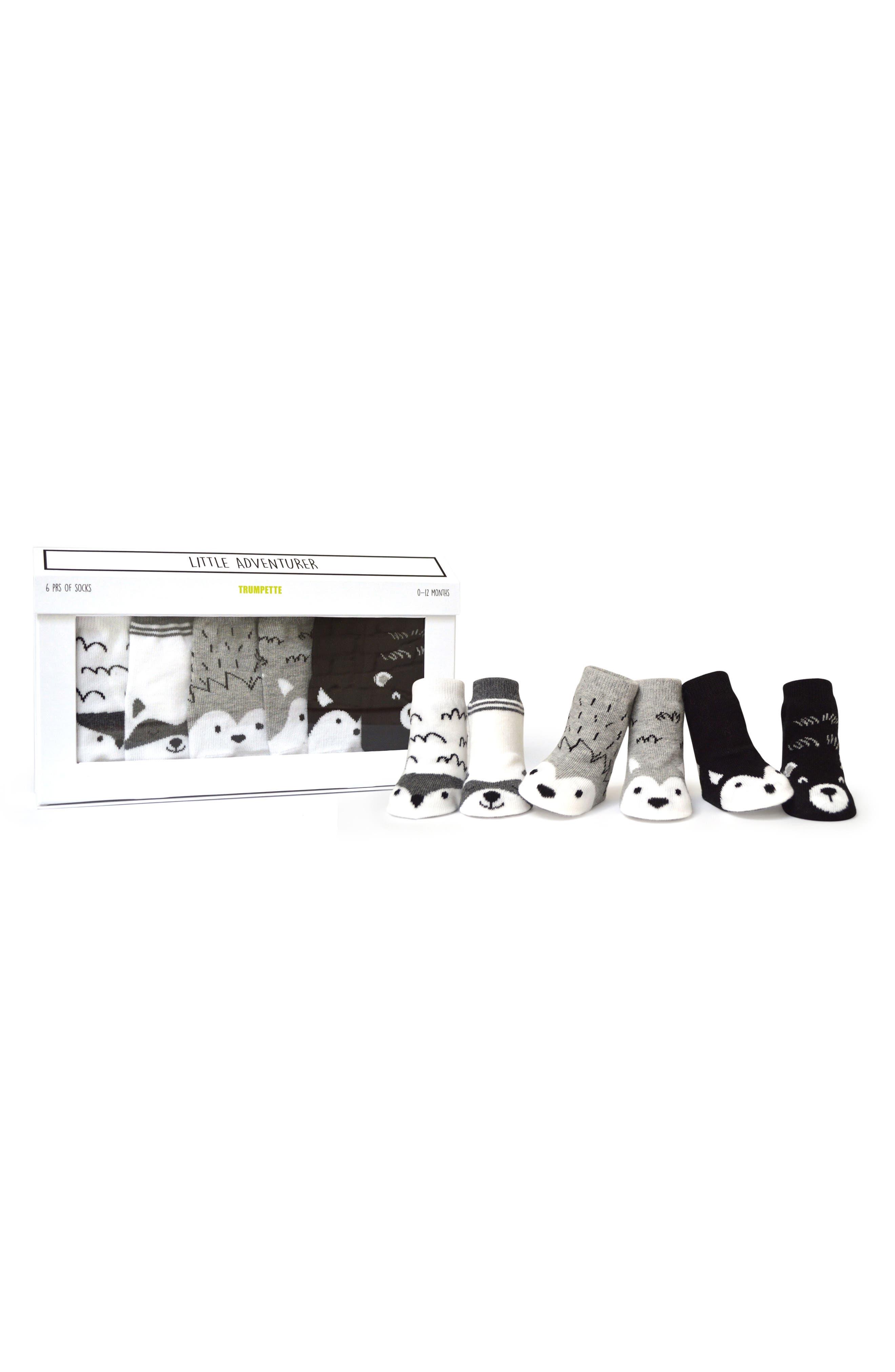 Little Adventurer 6-Pack Socks,                         Main,                         color, Assorted Natural