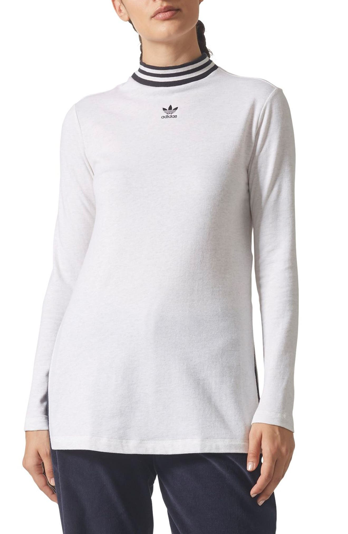 adidas Stripe Mock Neck Tee