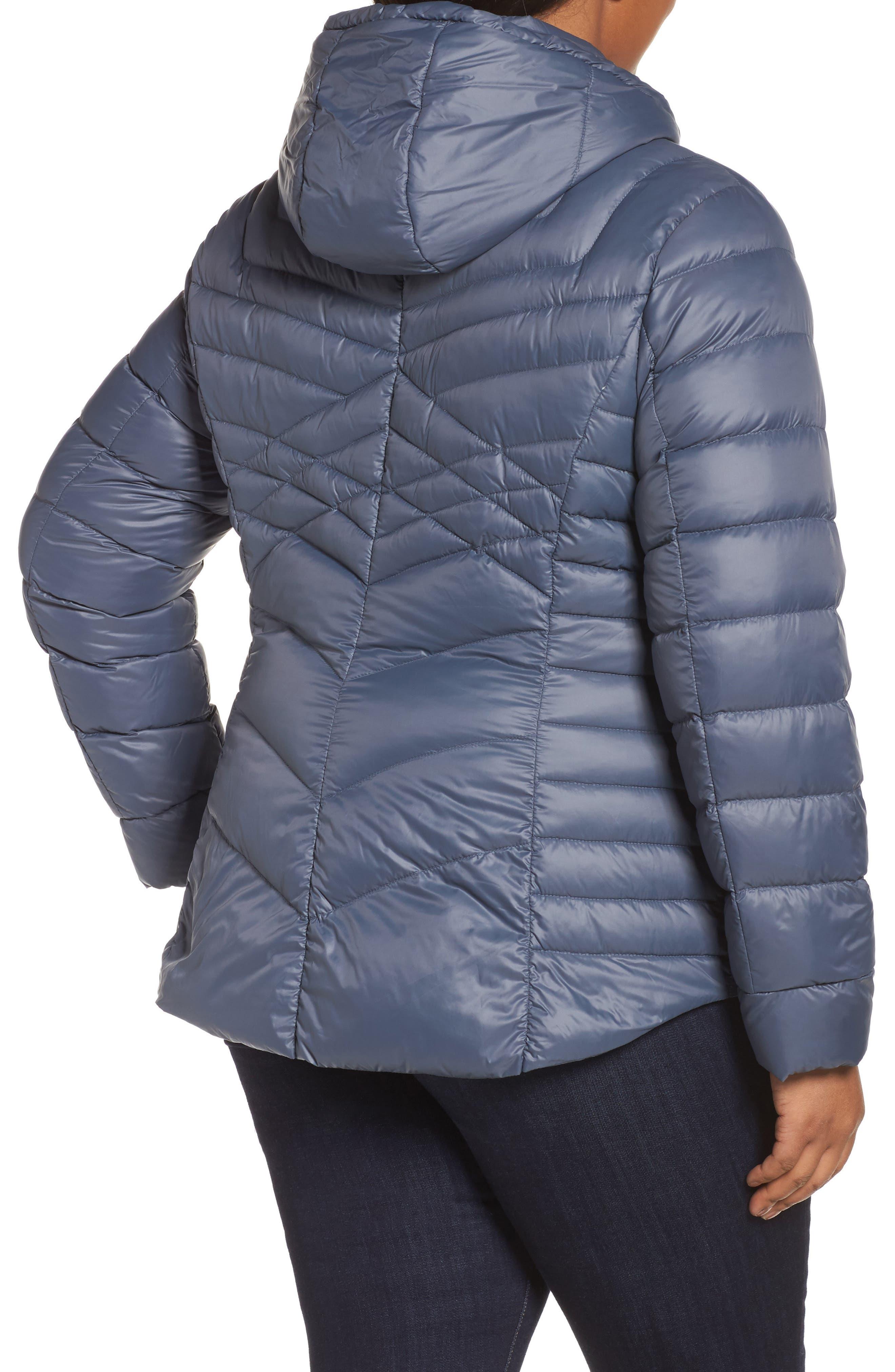 Alternate Image 2  - Halogen® Hooded Down Blend Puffer Jacket (Plus Size)