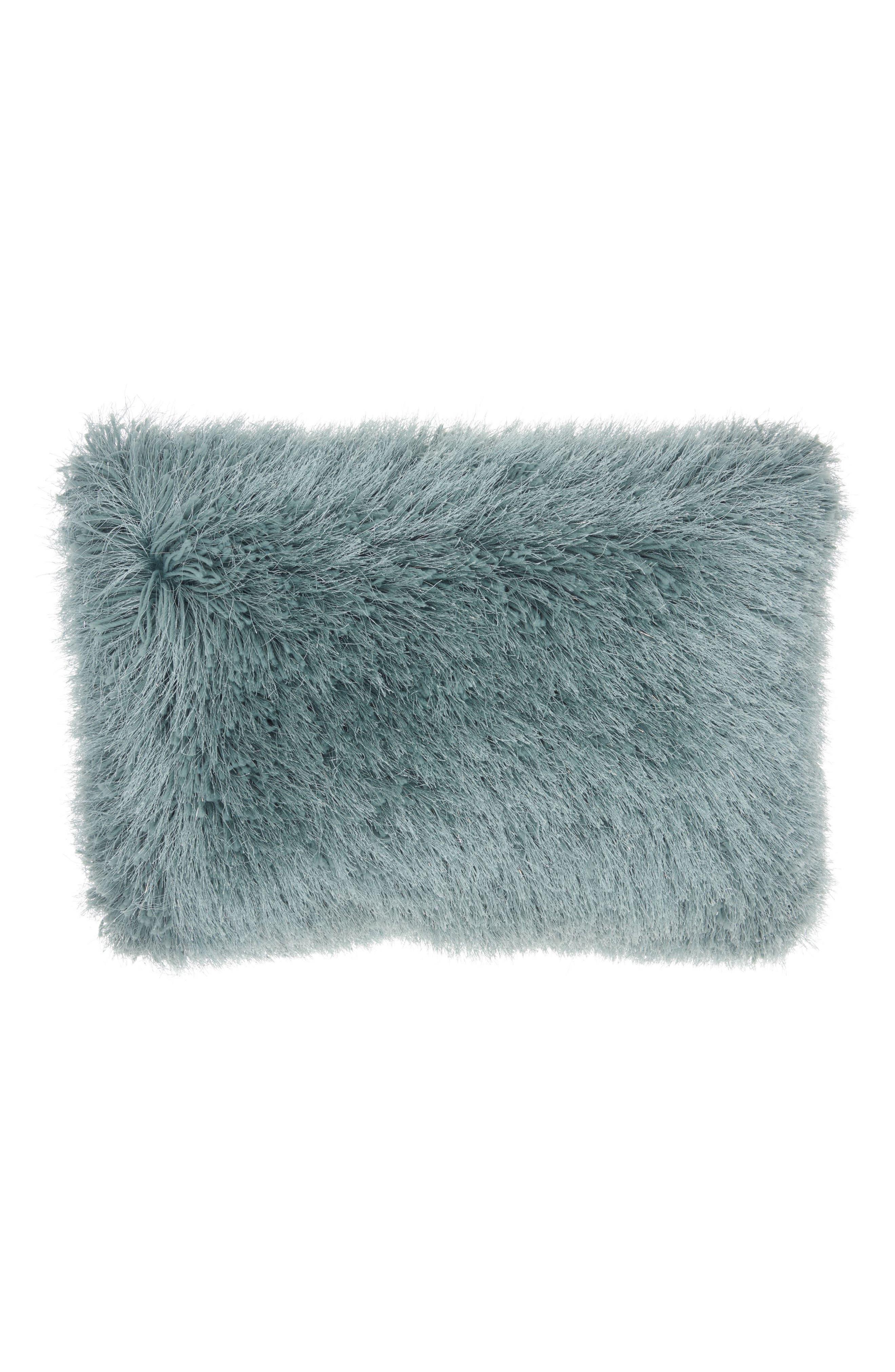 Yarn Shimmer Shag Pillow,                             Main thumbnail 1, color,                             Celadon