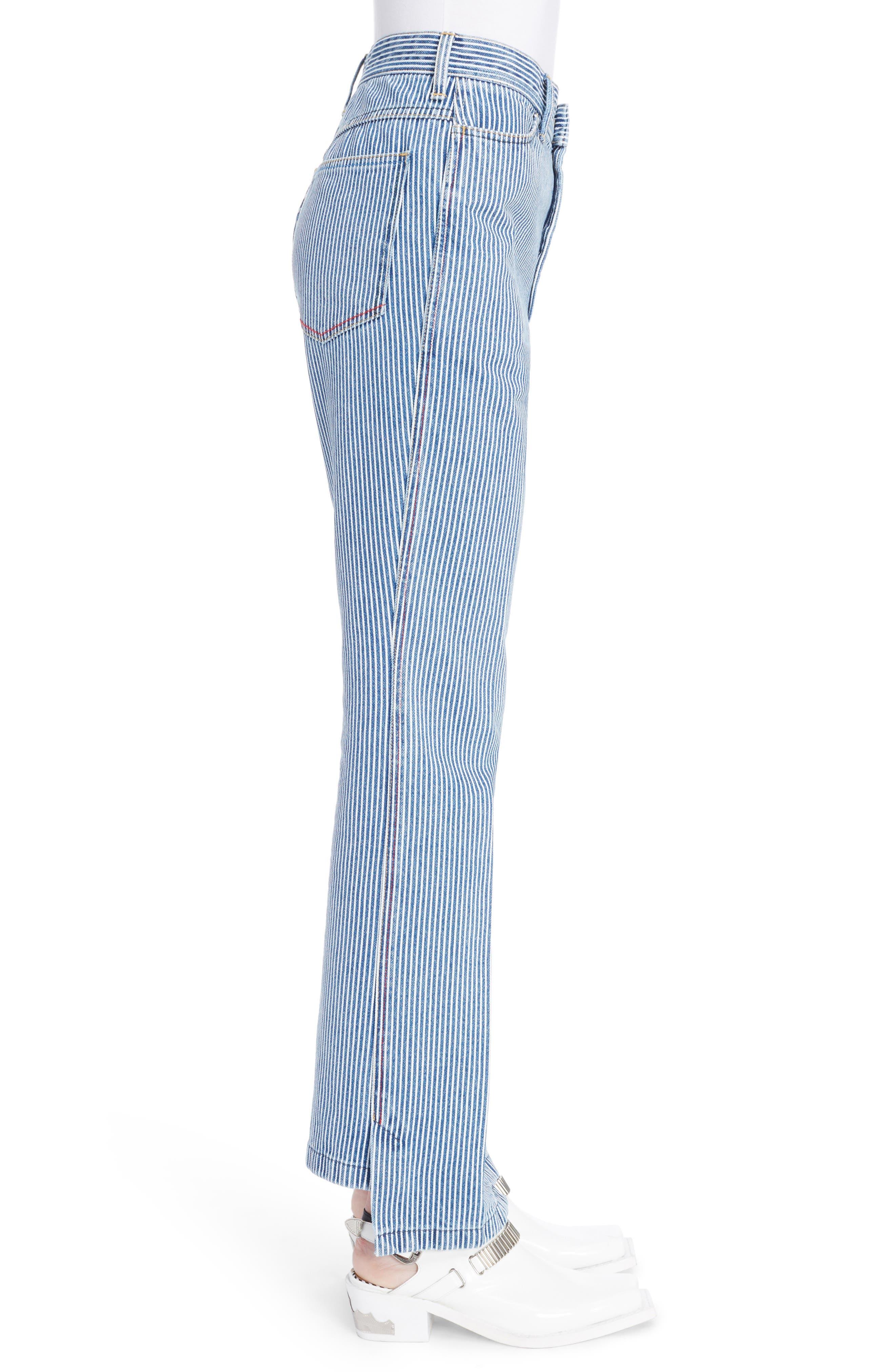 Alternate Image 3  - TOGA Stripe Straight Leg Jeans (Navy White)