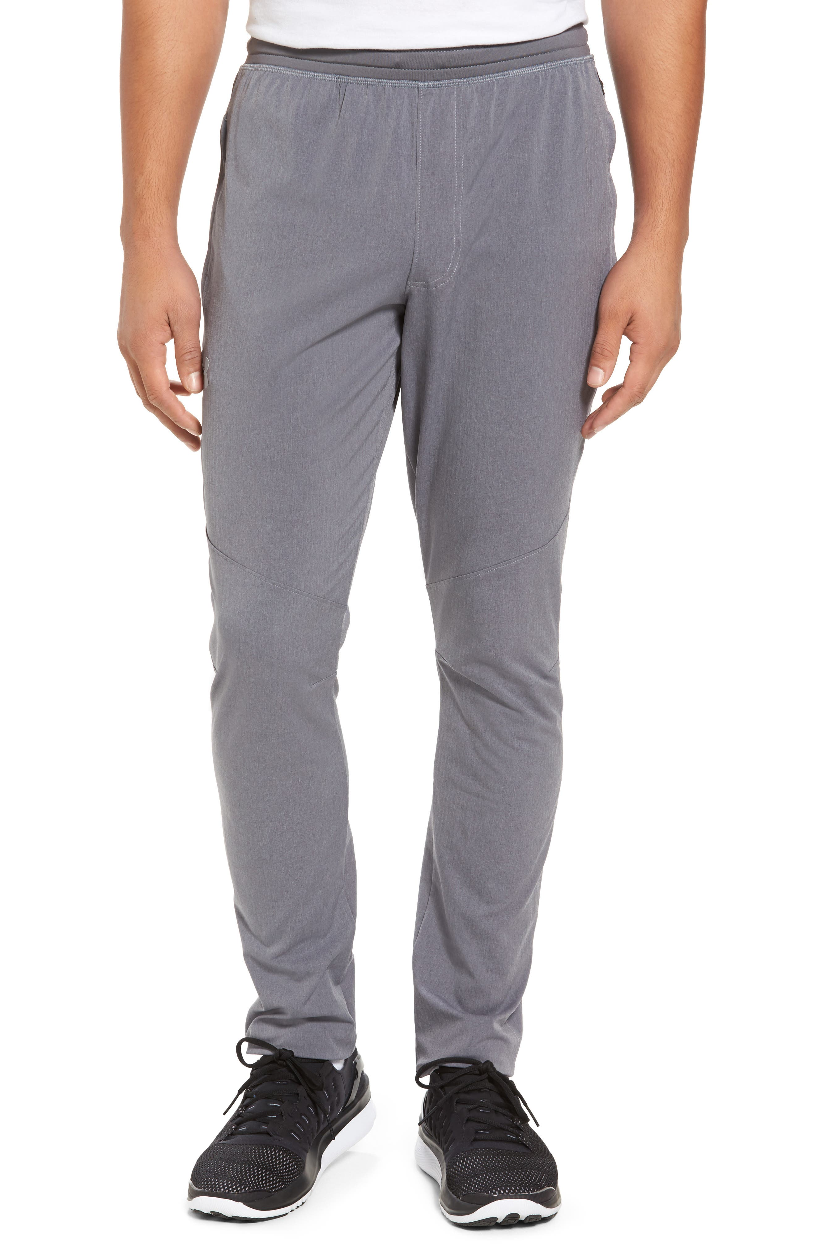 Fitted Woven Training Pants,                             Main thumbnail 1, color,                             Grey Heather / Black / Steel