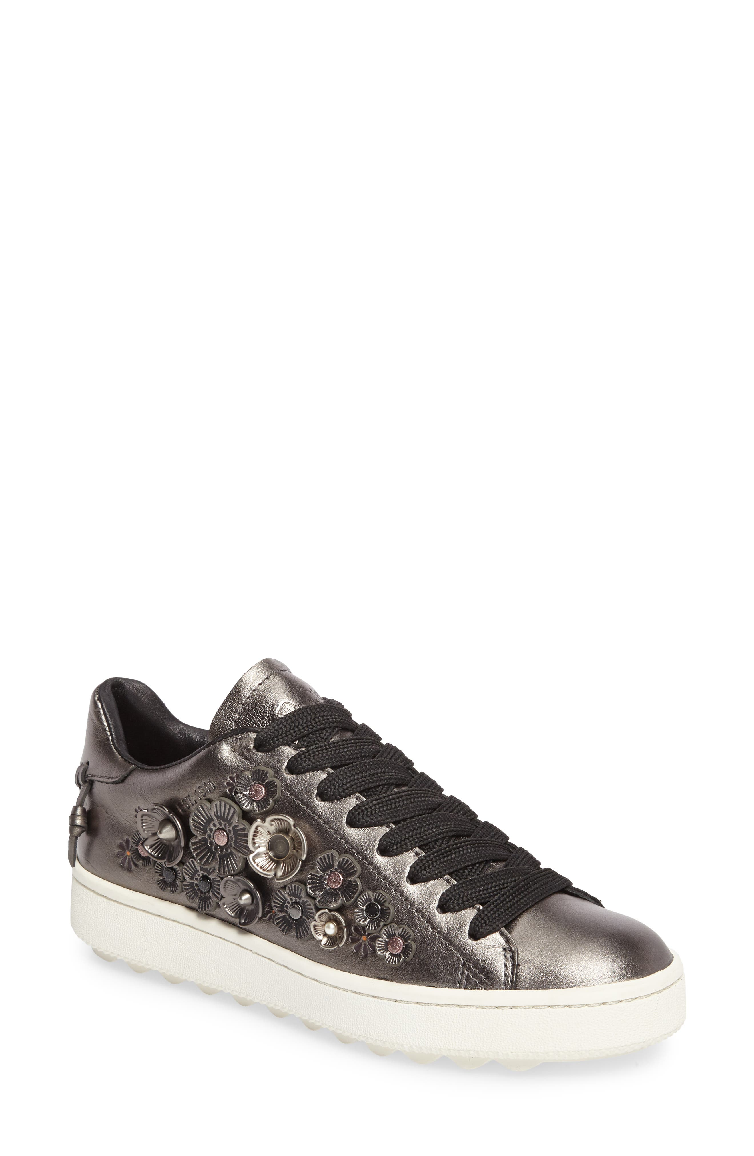 Tea Rose Metallic Sneaker,                             Main thumbnail 1, color,                             Gunmetal Leather