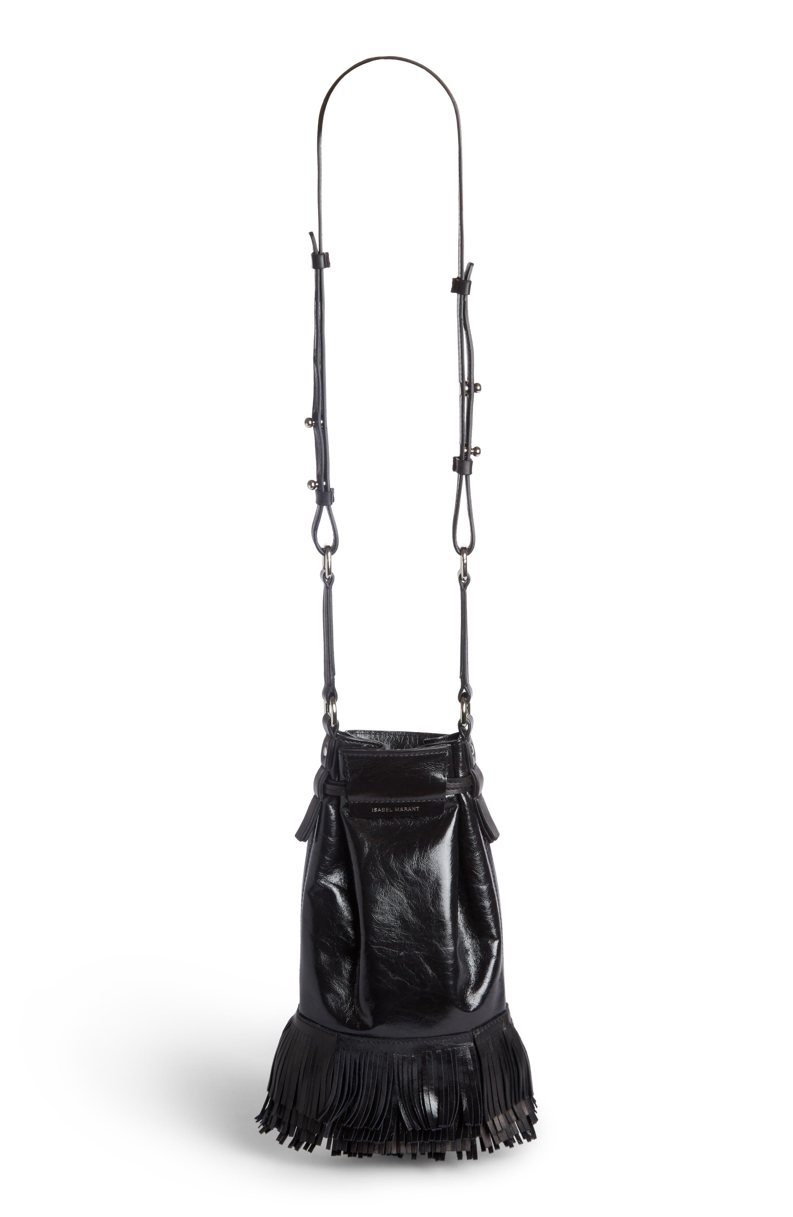 Askiah Fringe Leather Crossbody Bag,                             Alternate thumbnail 2, color,                             Black