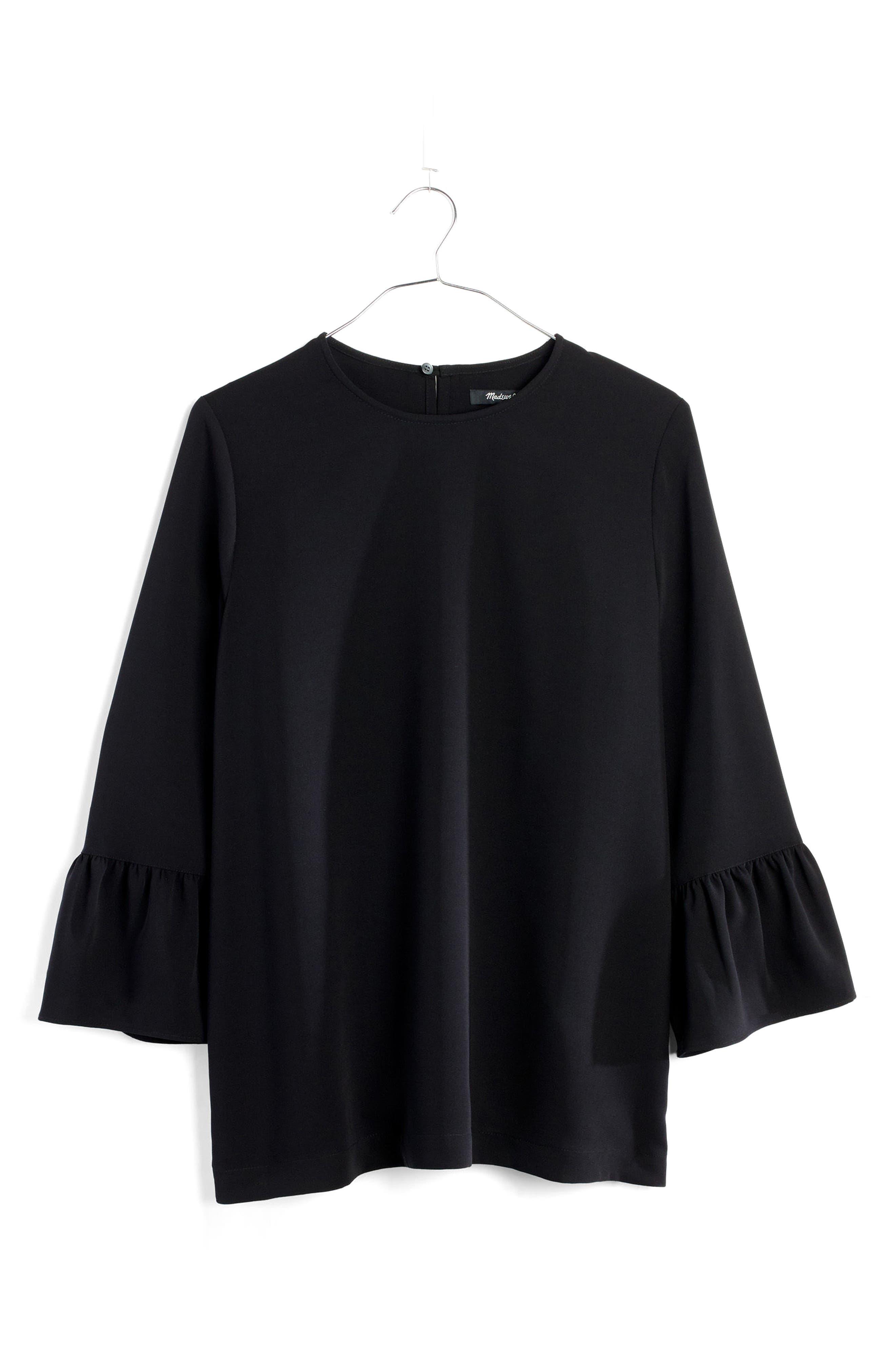 Bell Sleeve Top,                         Main,                         color, True Black