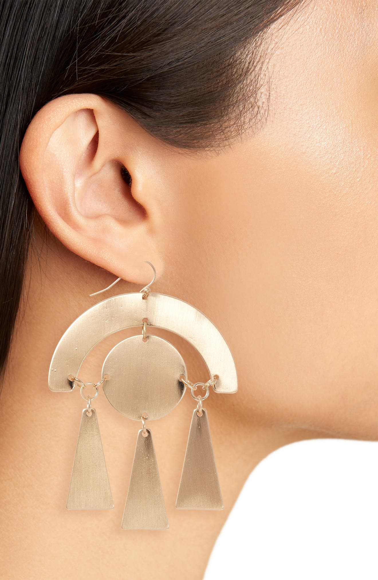 Geo Drop Earrings,                             Alternate thumbnail 2, color,                             Antique Gold