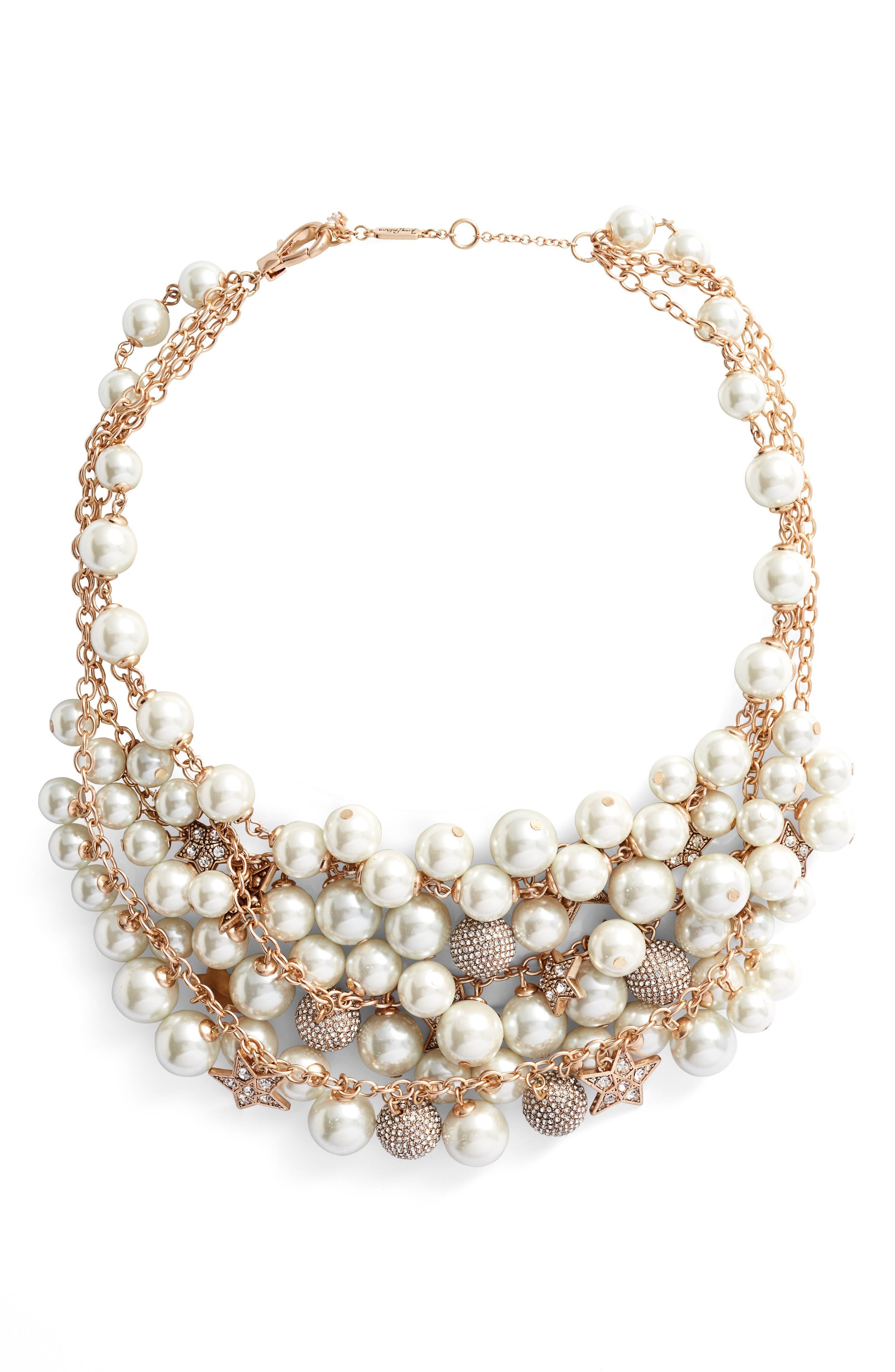 Shaky Drama Collar Necklace,                         Main,                         color, Gold/ Pearl/ Crystal