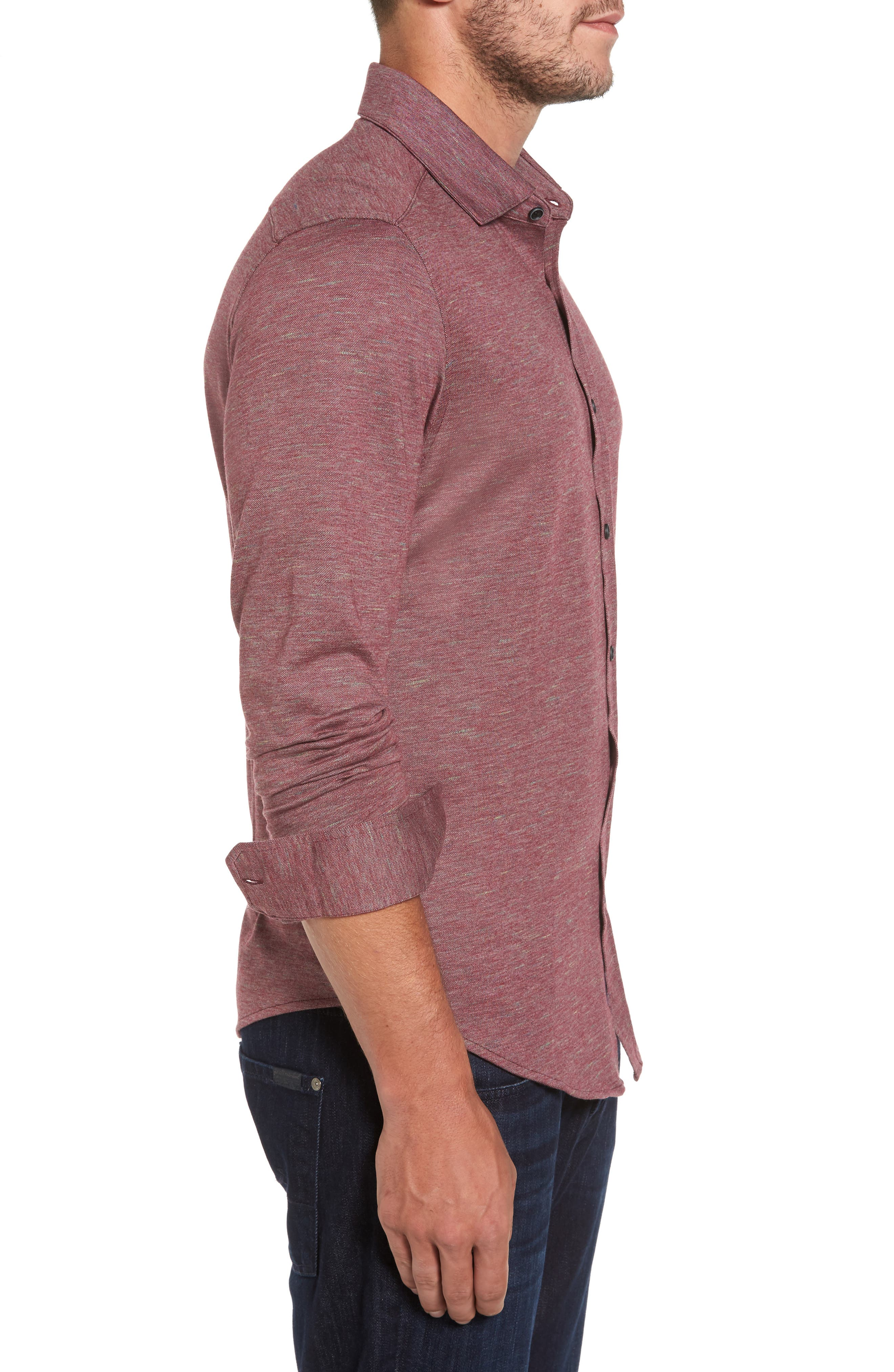 Alternate Image 3  - Bugatchi Regular Fit Piqué Knit Sport Shirt