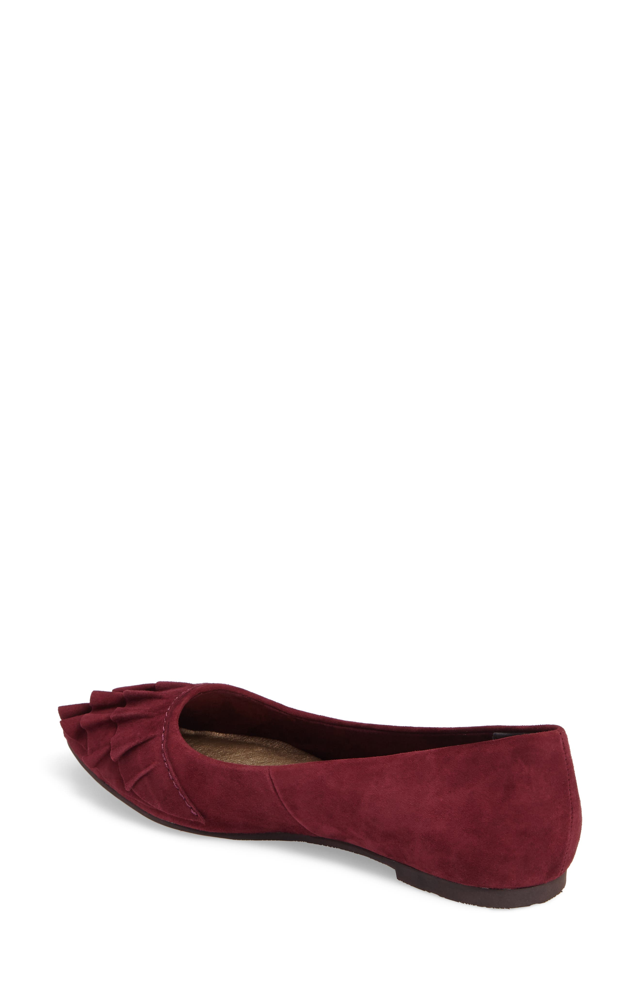 Downstage Pointy Toe Flat,                             Alternate thumbnail 3, color,                             Burgundy Suede