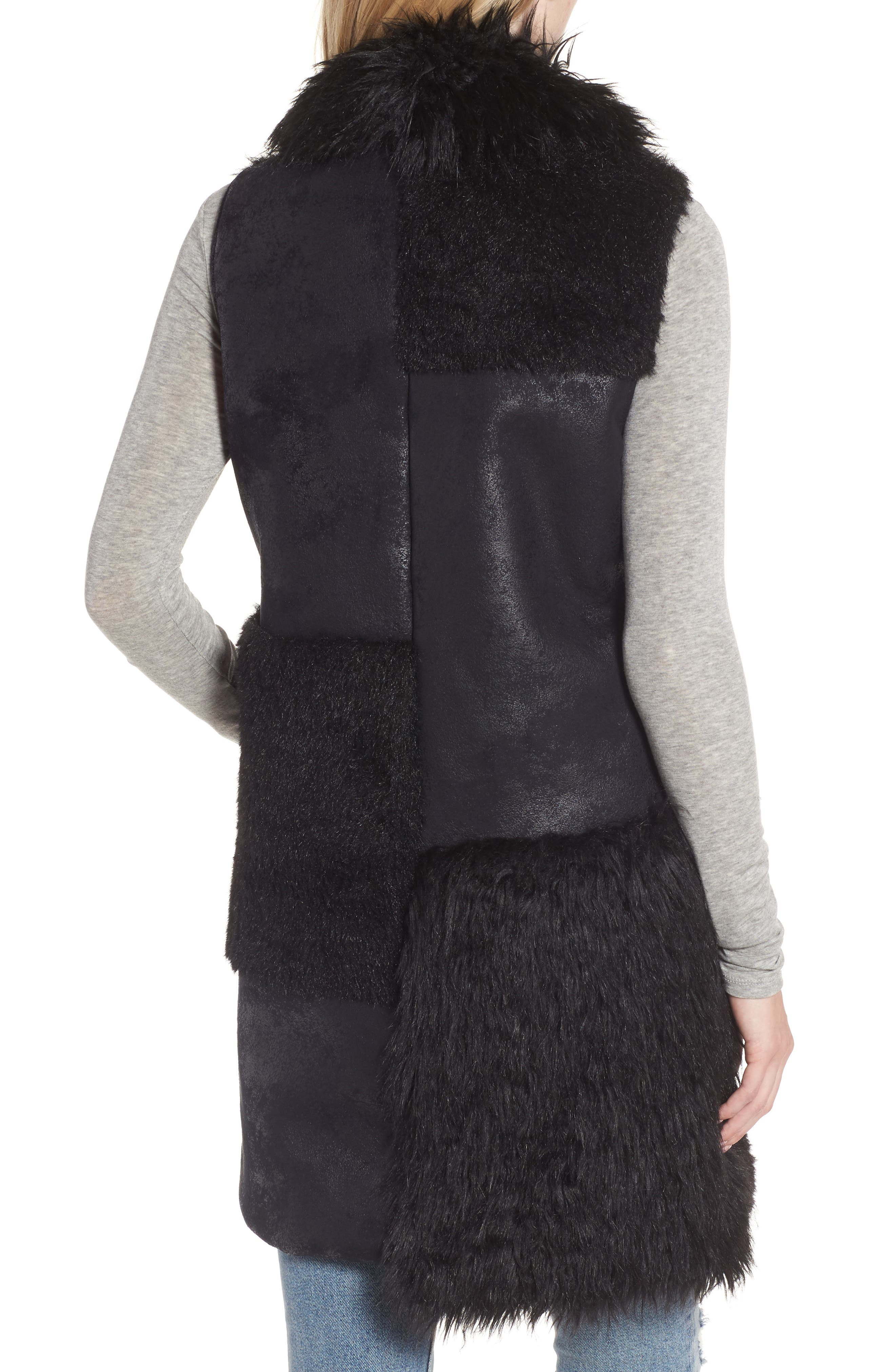 Kimmy Patchwork Faux Fur & Faux Suede Vest,                             Alternate thumbnail 2, color,                             Black