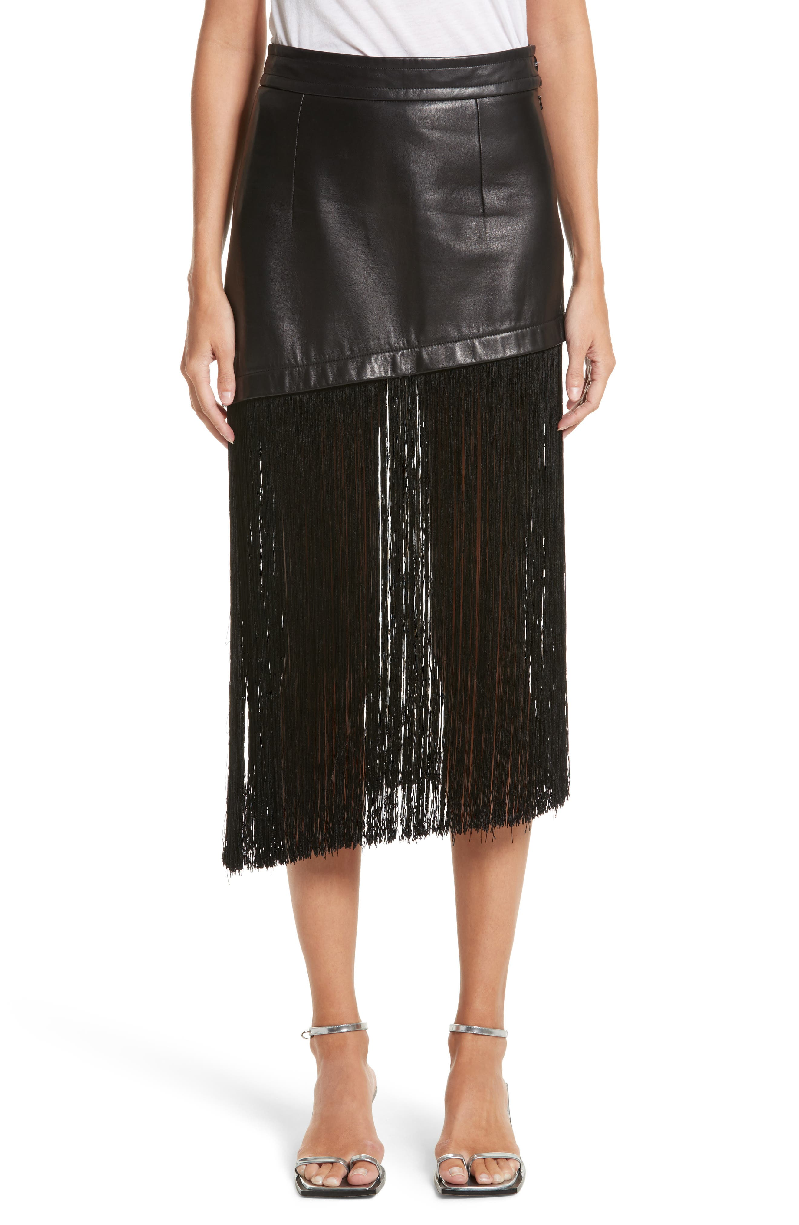 Fringe Hem Leather Miniskirt,                         Main,                         color, Black