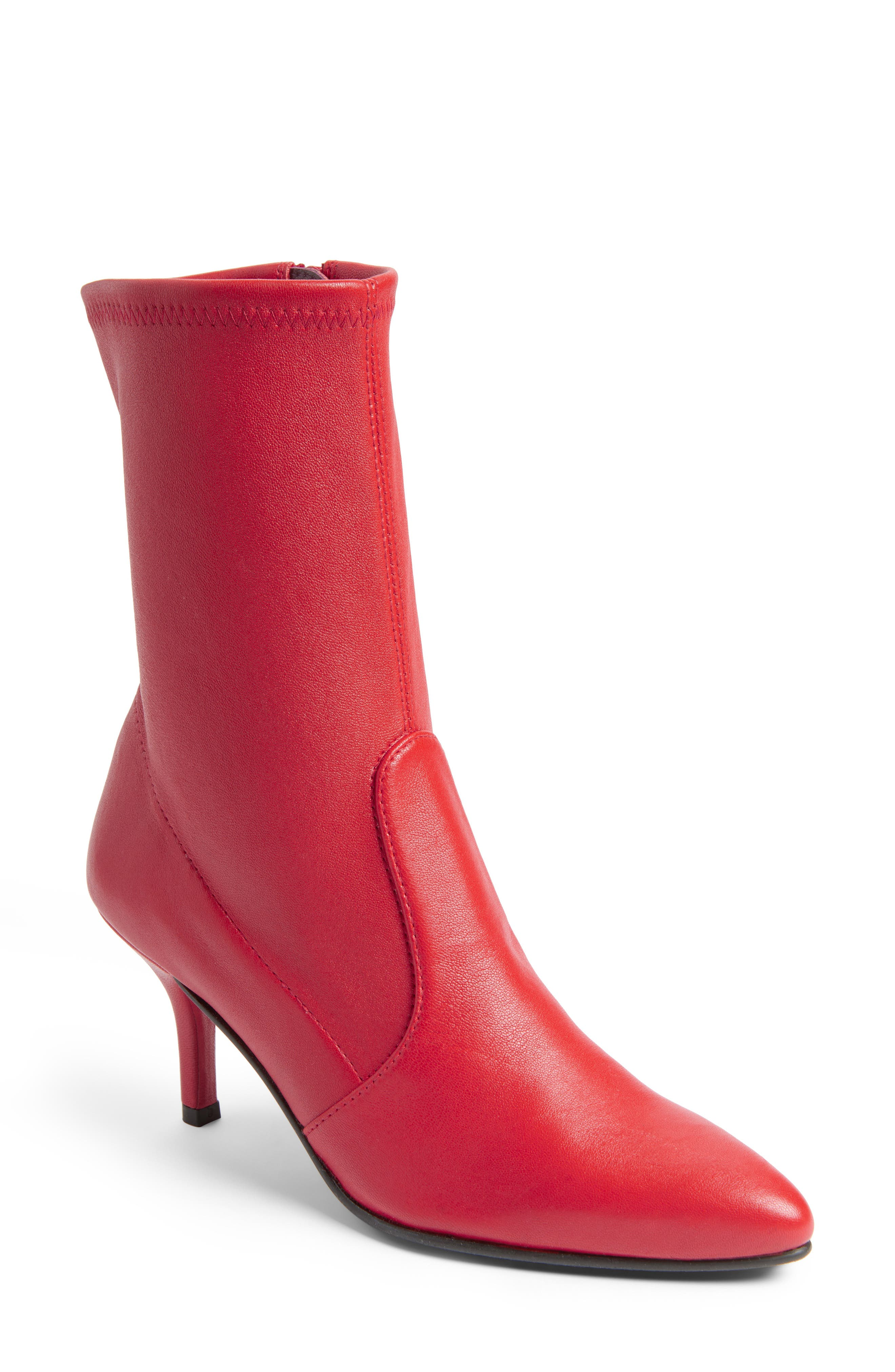 Cling Stretch Bootie,                             Main thumbnail 1, color,                             Red Plonge Stretch