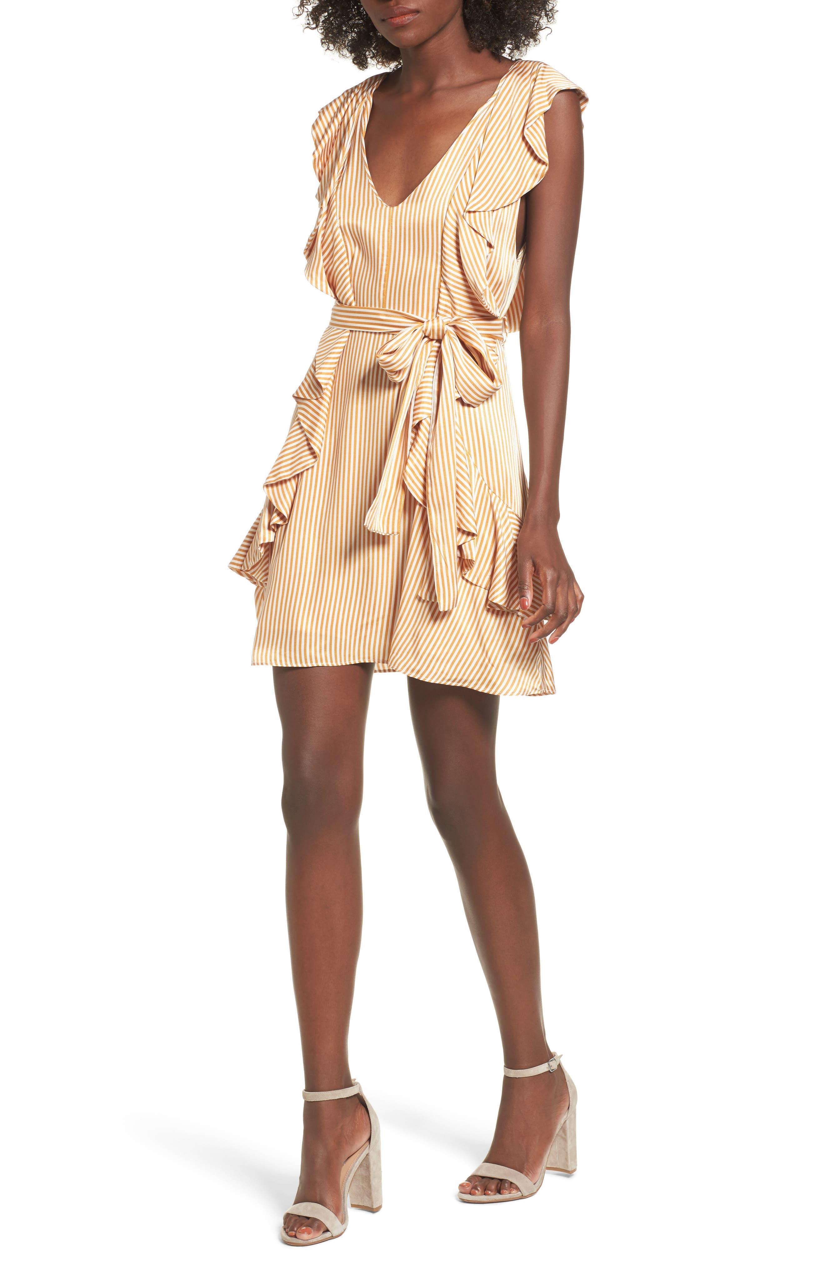 Clara Ruffle Minidress,                             Main thumbnail 1, color,                             Nude Stripe
