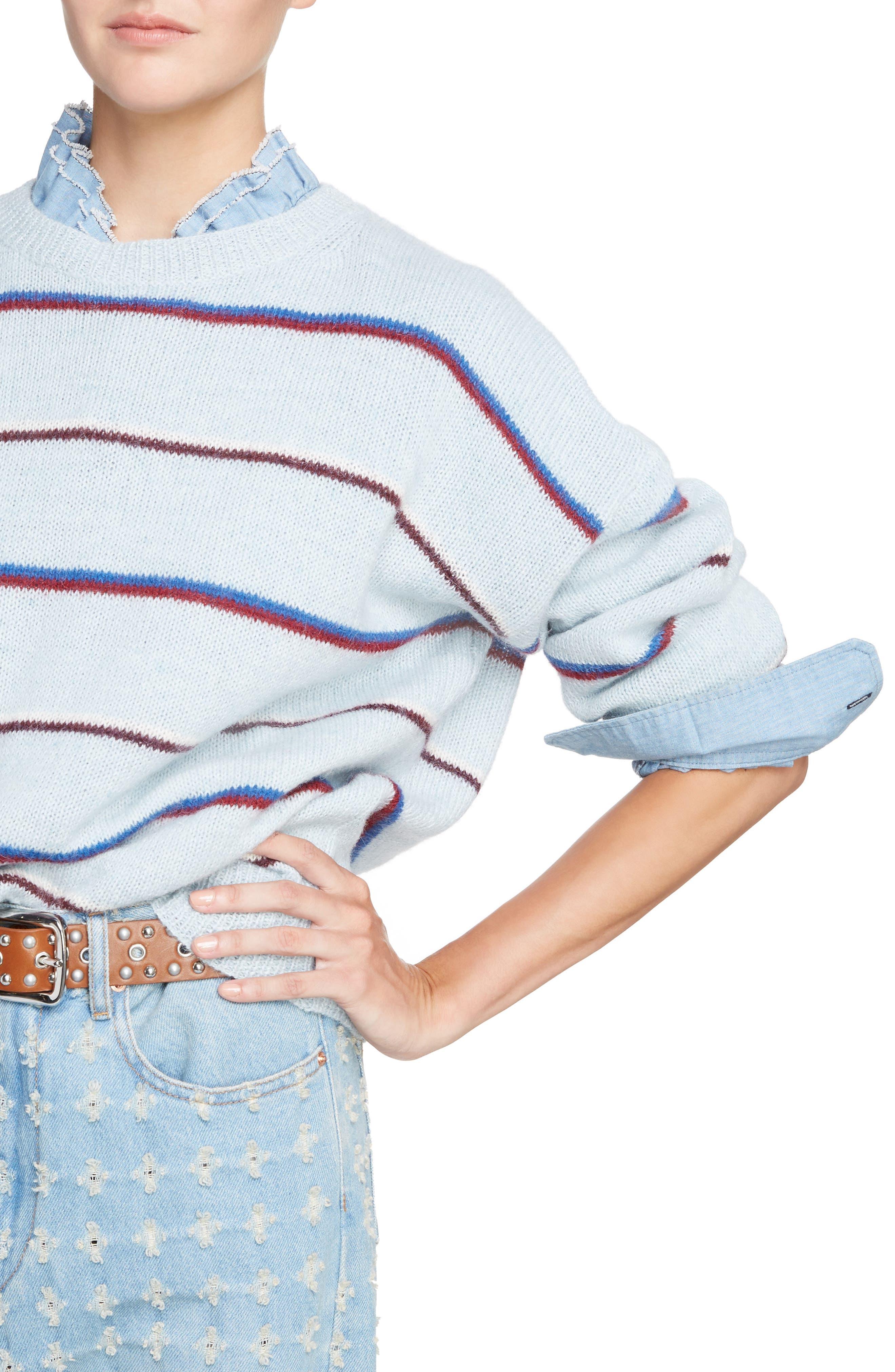 Isabel Marant Étoile Gatlin Stripe Alpaca Blend Sweater,                             Alternate thumbnail 4, color,                             Light Blue
