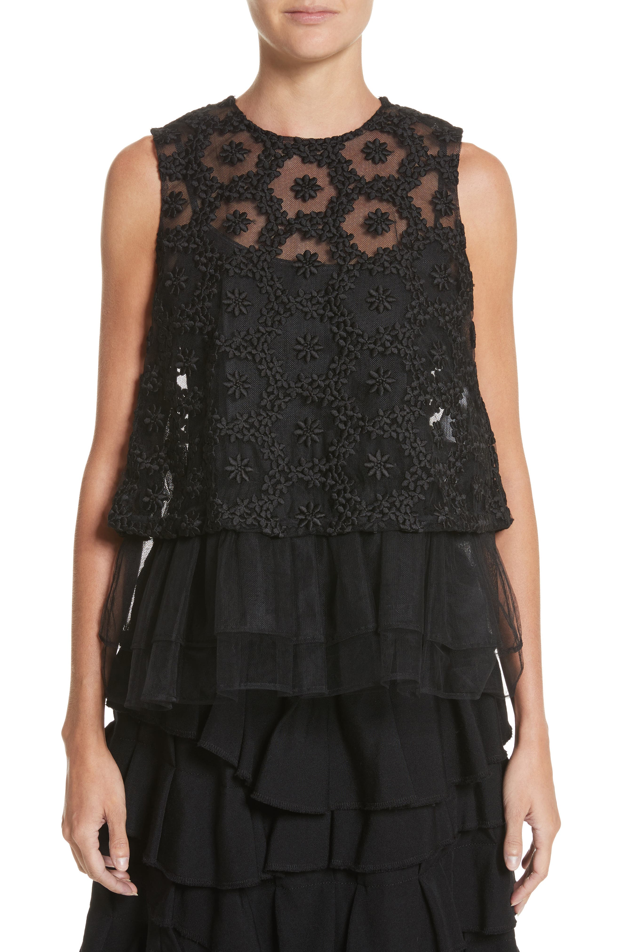 Floral Embroidered Tulle Top,                             Main thumbnail 1, color,                             Black