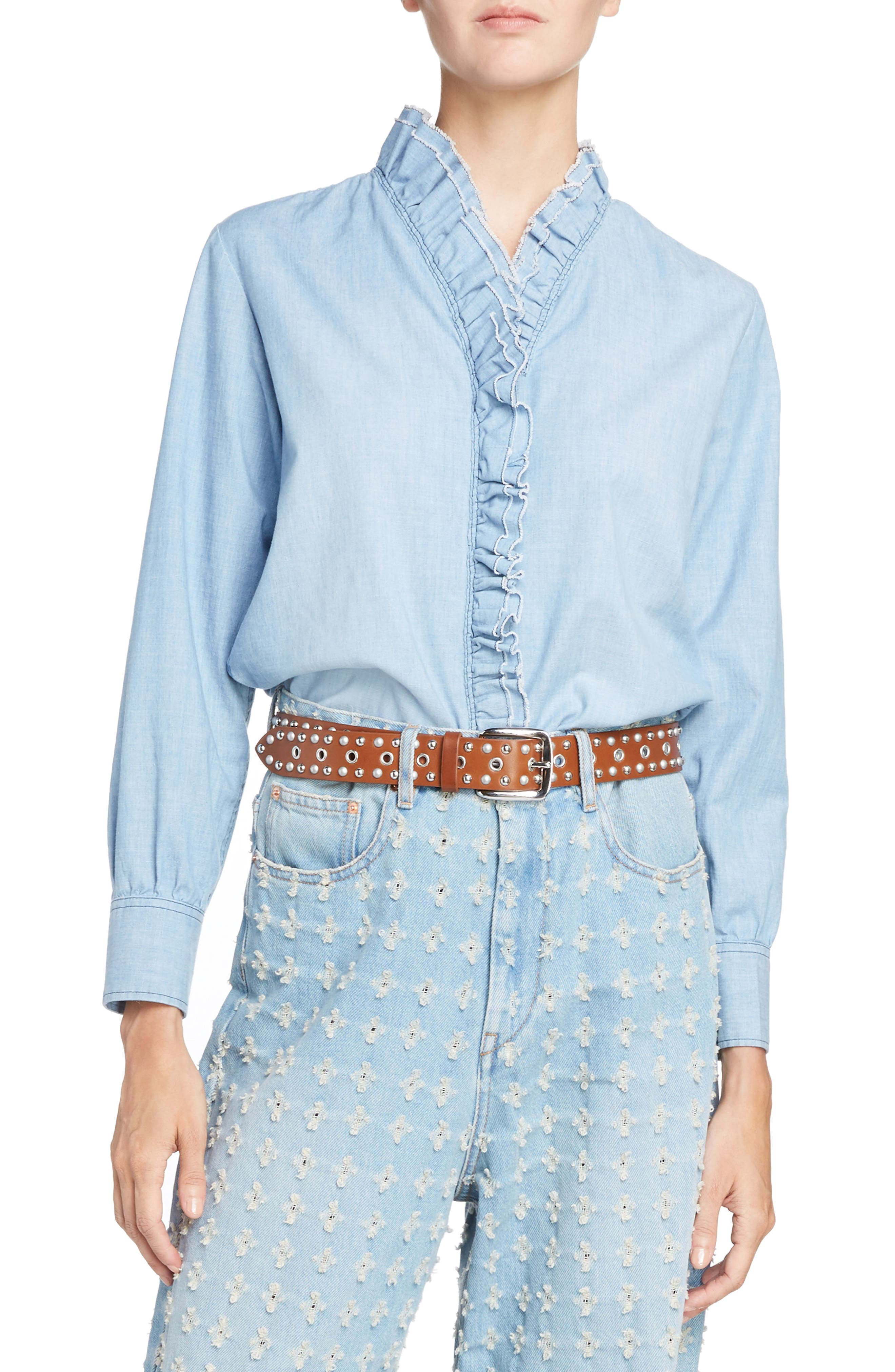 Isabel Marant Étoile Lawendy Ruffle Chambray Top