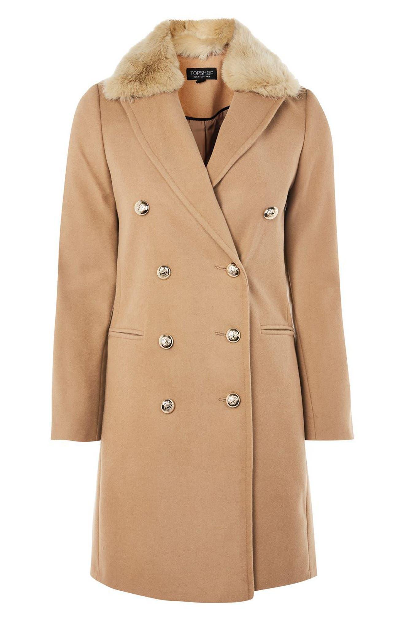 Alternate Image 4  - Topshop Nina Faux Fur Collar Double Breasted Coat