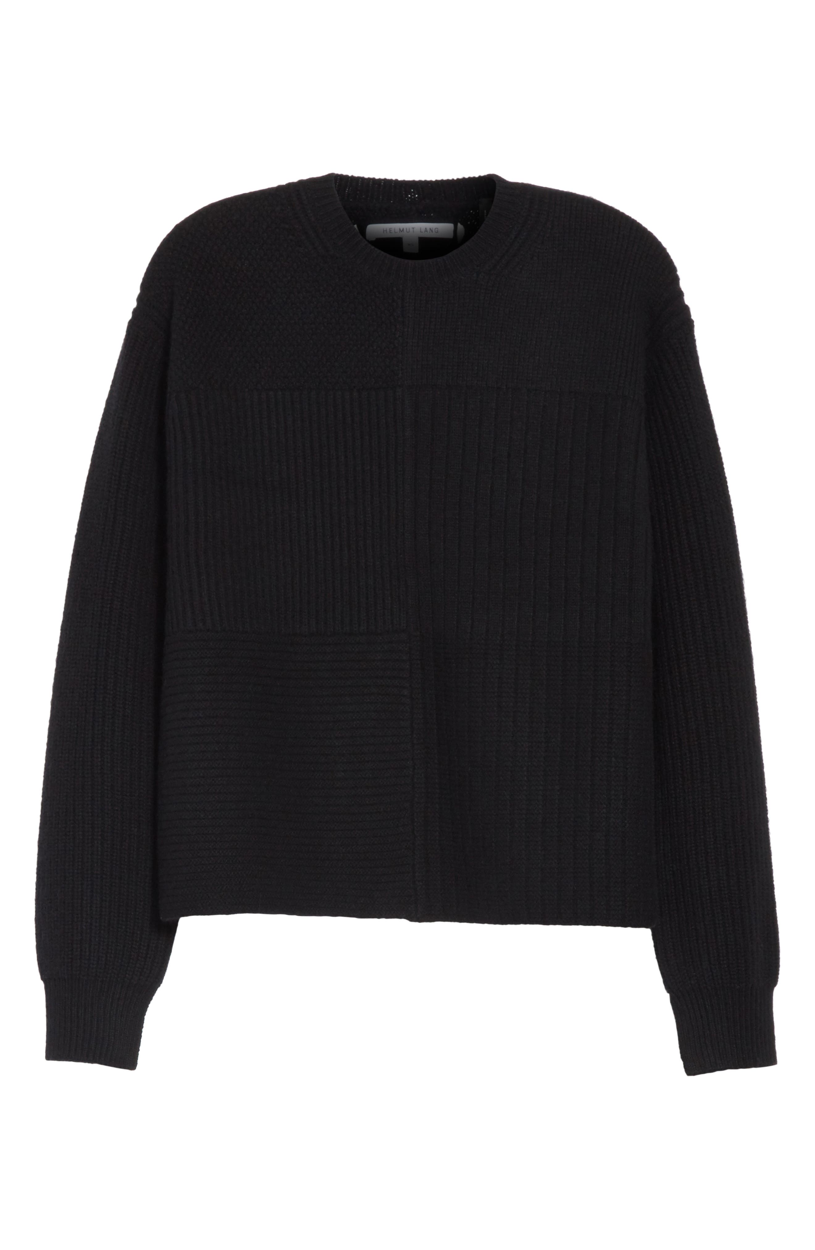 Wool Blend Textured Pullover,                             Alternate thumbnail 6, color,                             Black