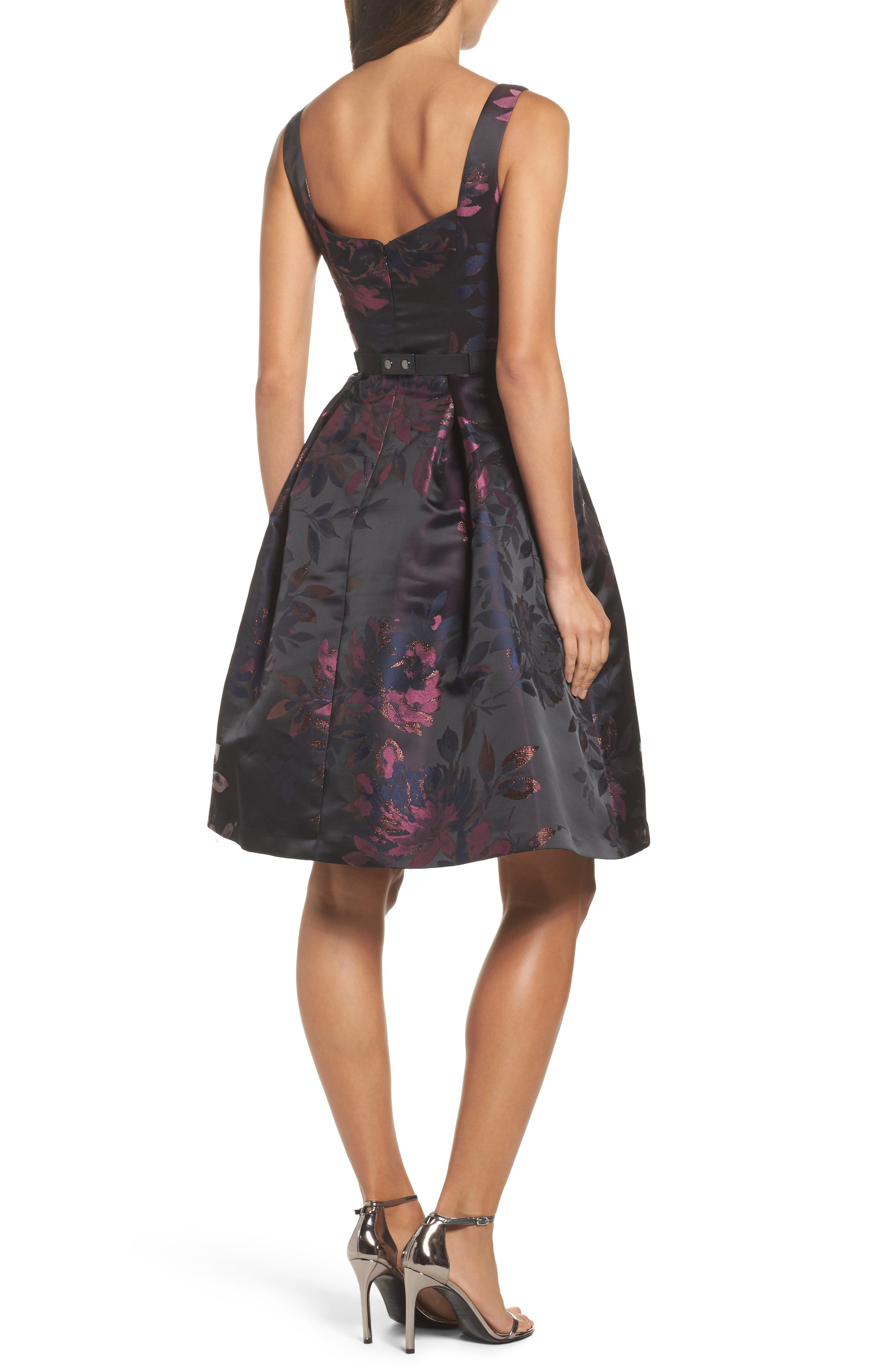 Brocade Fit & Flare Dress,                             Alternate thumbnail 3, color,                             Navy/ Pink