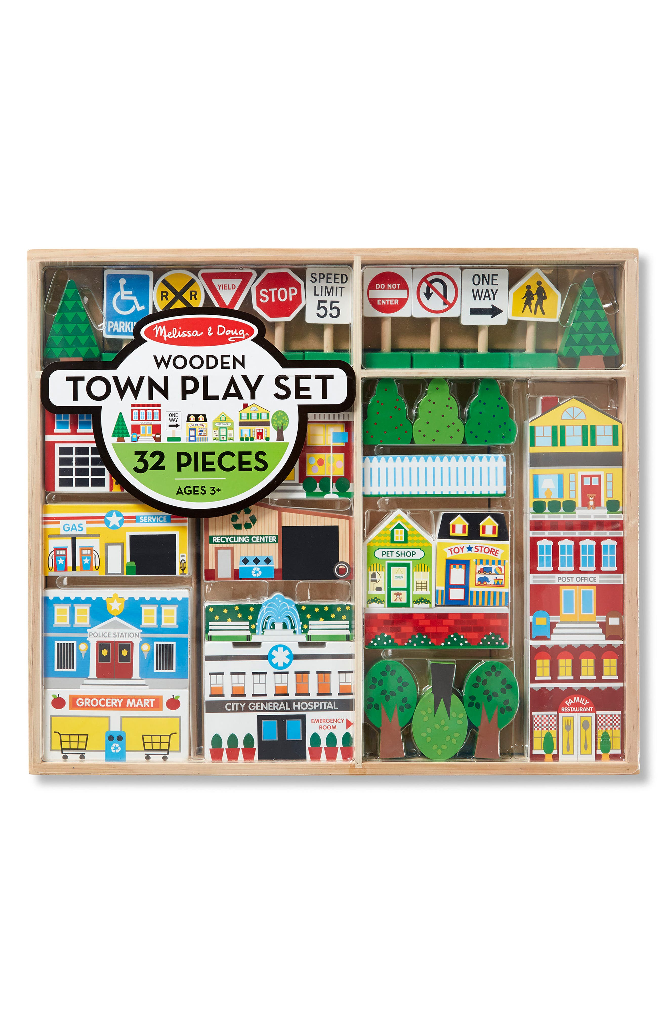 Melissa & Doug 32-Piece Wooden Town Play Set