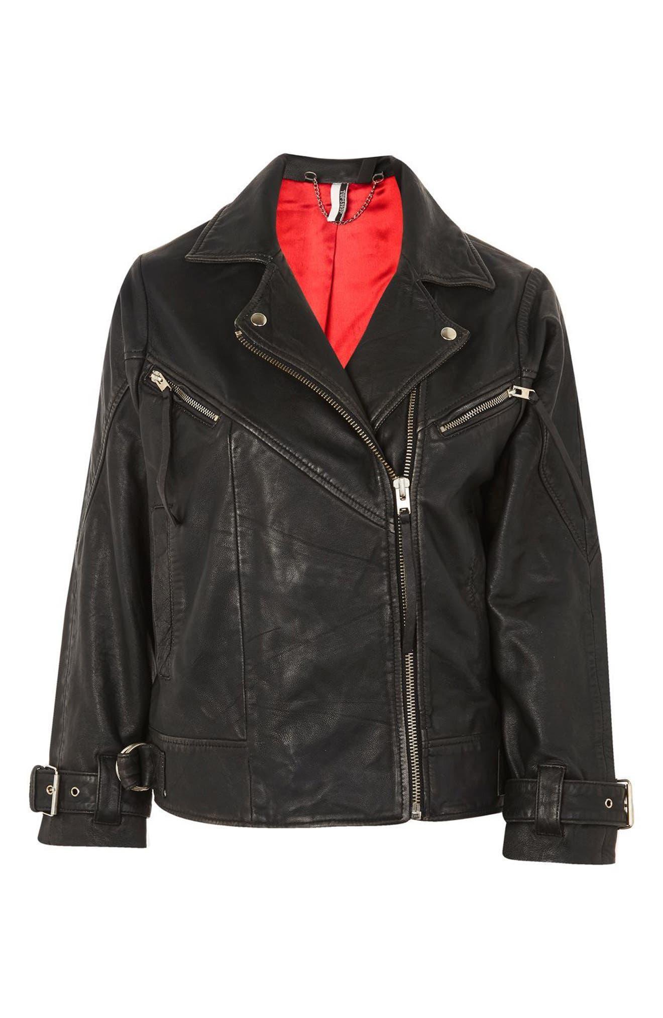 Teddy Oversize Leather Biker Jacket,                             Alternate thumbnail 4, color,                             Black