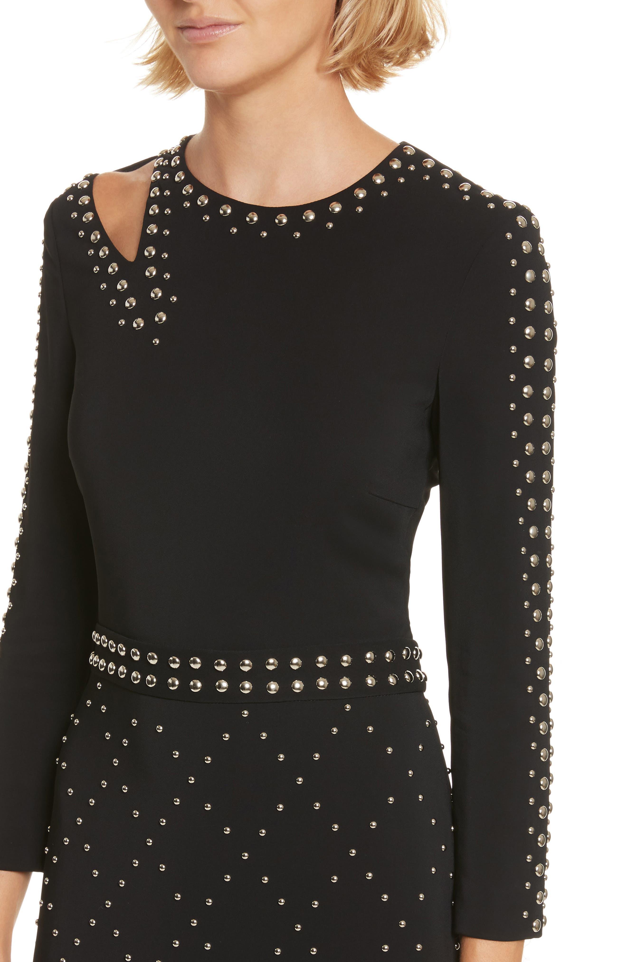 Taraji Studded Dress,                             Alternate thumbnail 4, color,                             Black