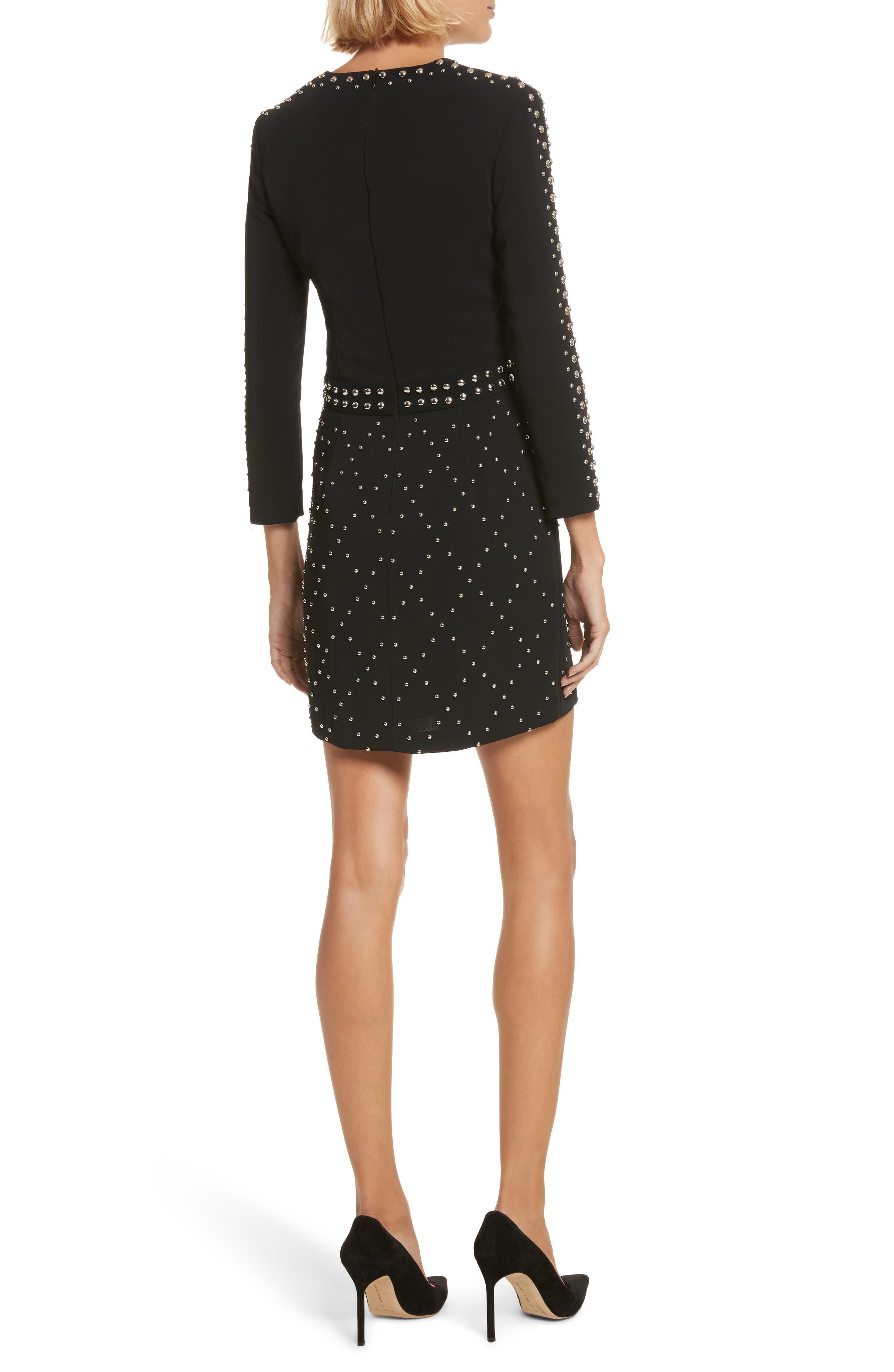 Taraji Studded Dress,                             Alternate thumbnail 2, color,                             Black