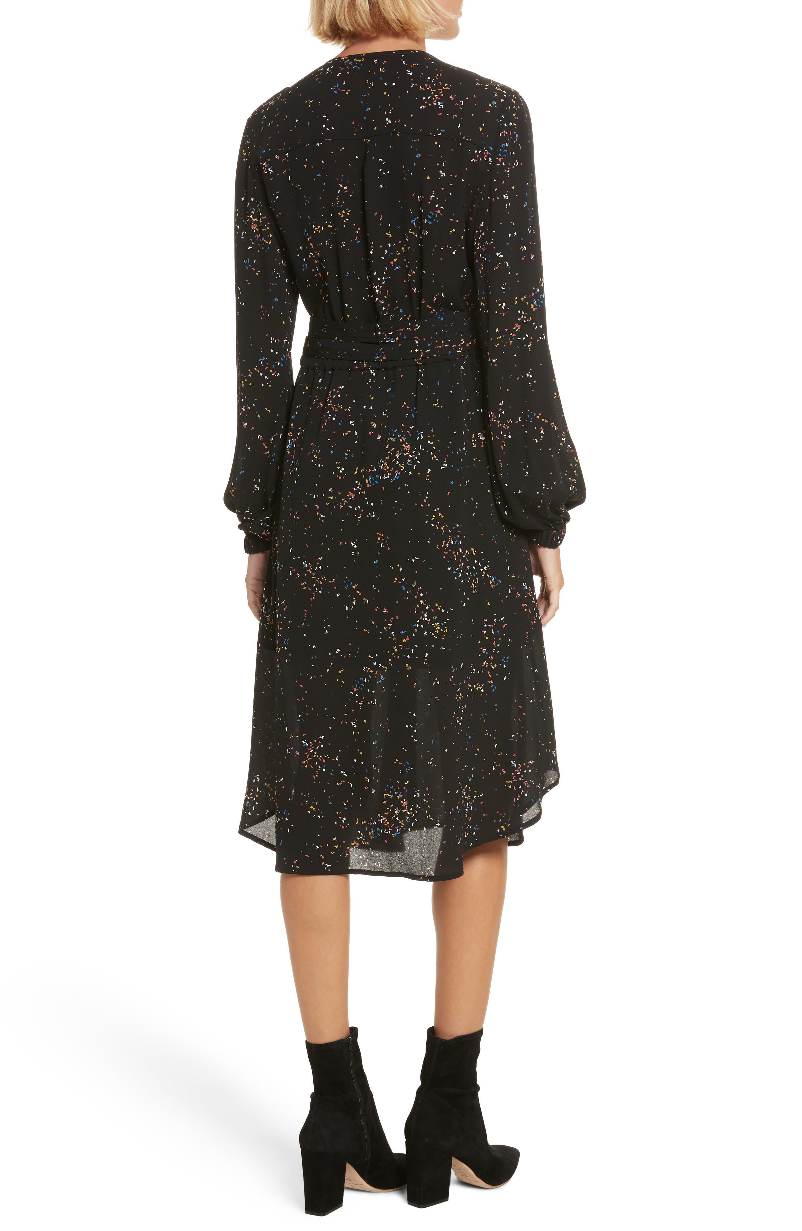 Samantha Print Silk Dress,                             Alternate thumbnail 2, color,                             Black Multi