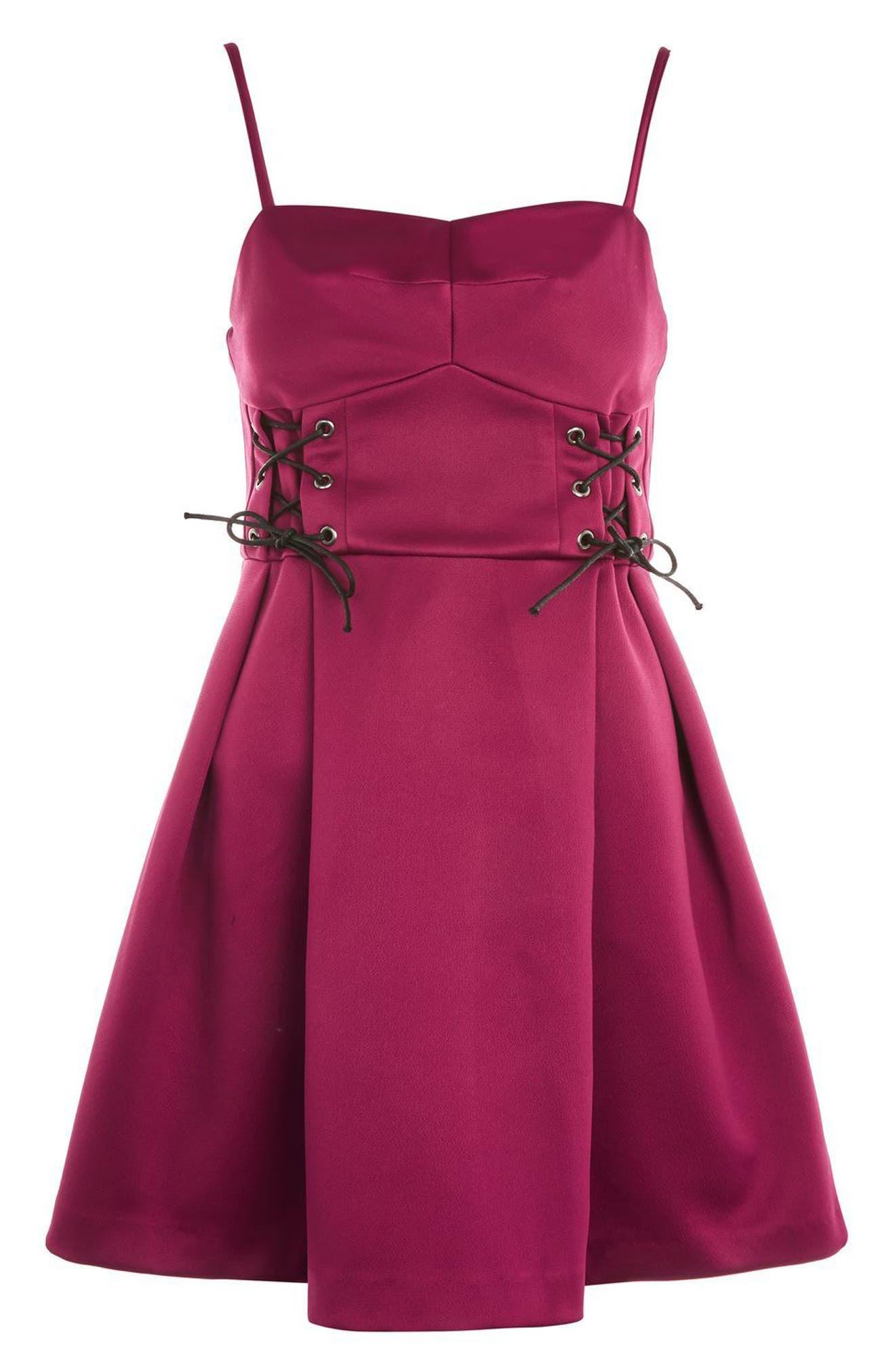 Corset Waist Bustier Minidress,                             Alternate thumbnail 5, color,                             Burgundy