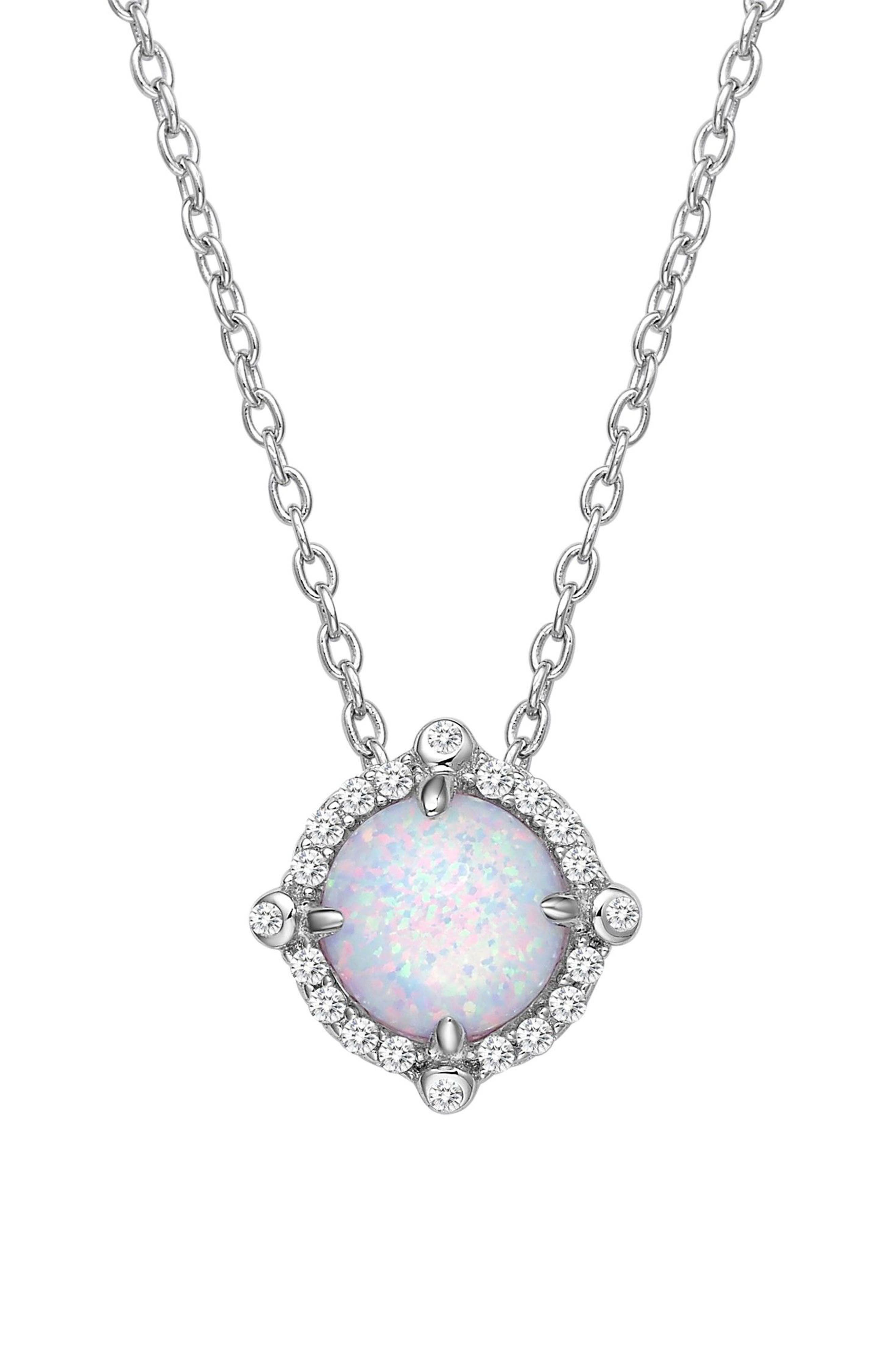 Simulated Diamond & Opal Necklace,                             Alternate thumbnail 3, color,                             Silver/ Opal/ Clear