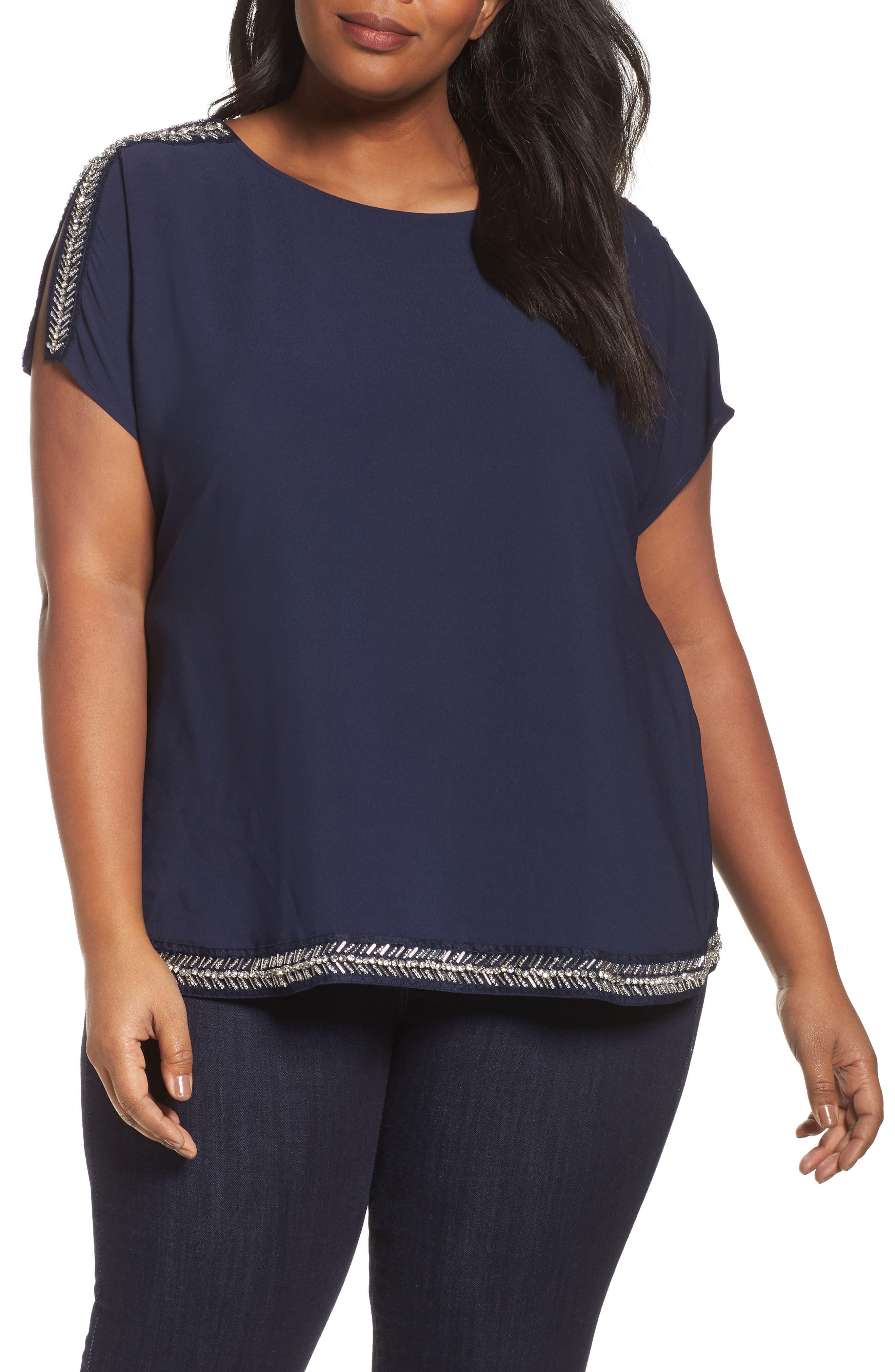 Embellished Slit Sleeve Blouse,                         Main,                         color, Navy Peacoat