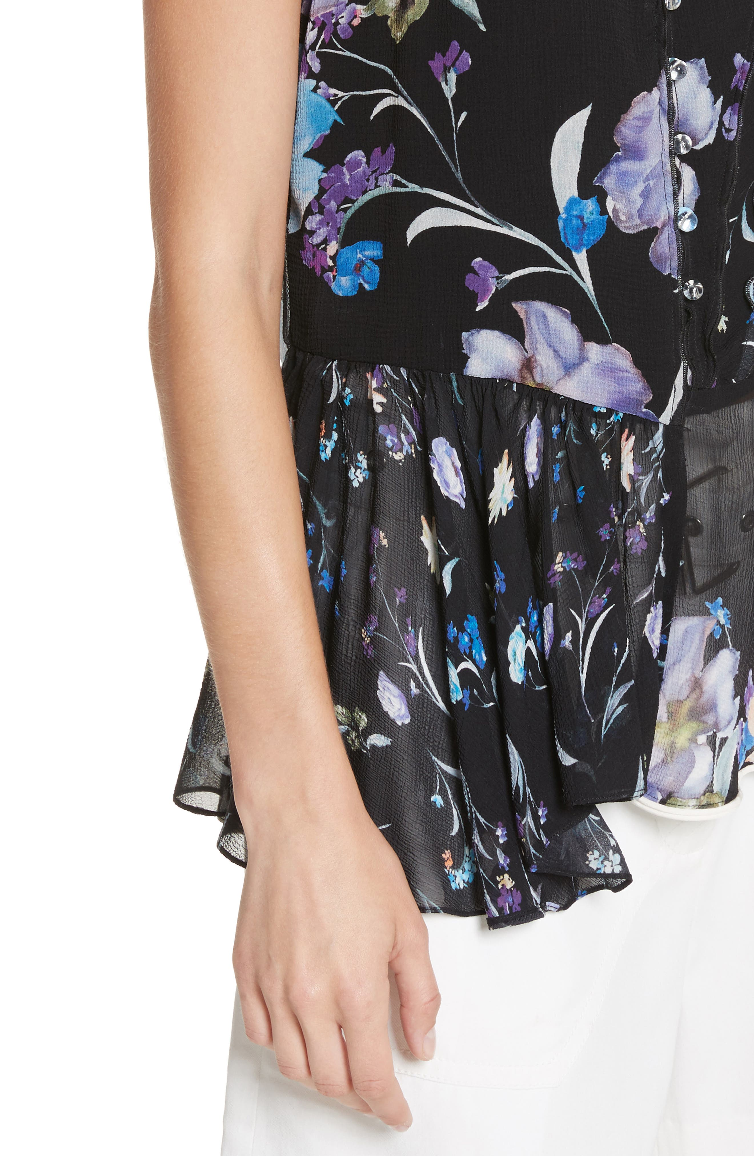 Ruffle Floral Silk Tank,                             Alternate thumbnail 4, color,                             Black