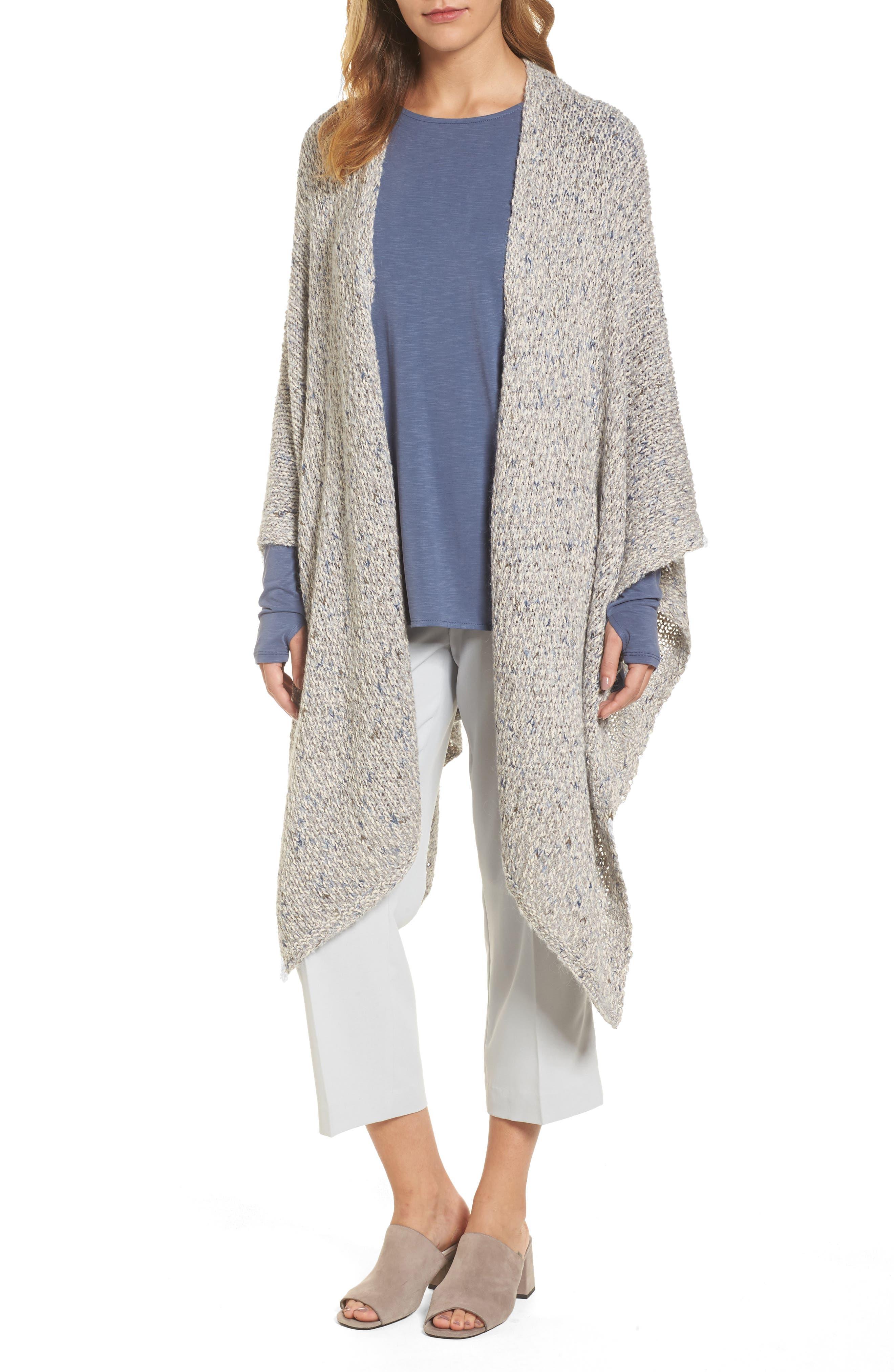 Luna Cotton Blend Knit Wrap Cape,                         Main,                         color, Multi