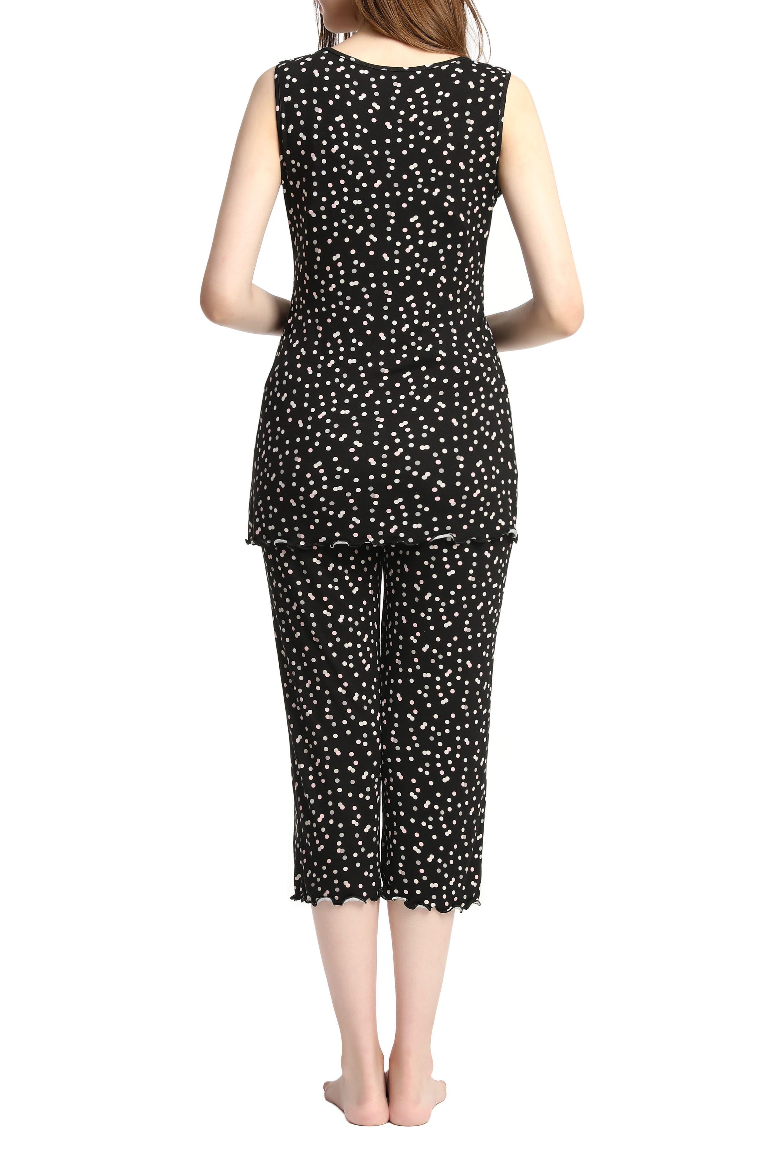 Kimi & Kai Loren Nursing/Maternity Pajamas,                             Alternate thumbnail 2, color,                             Black