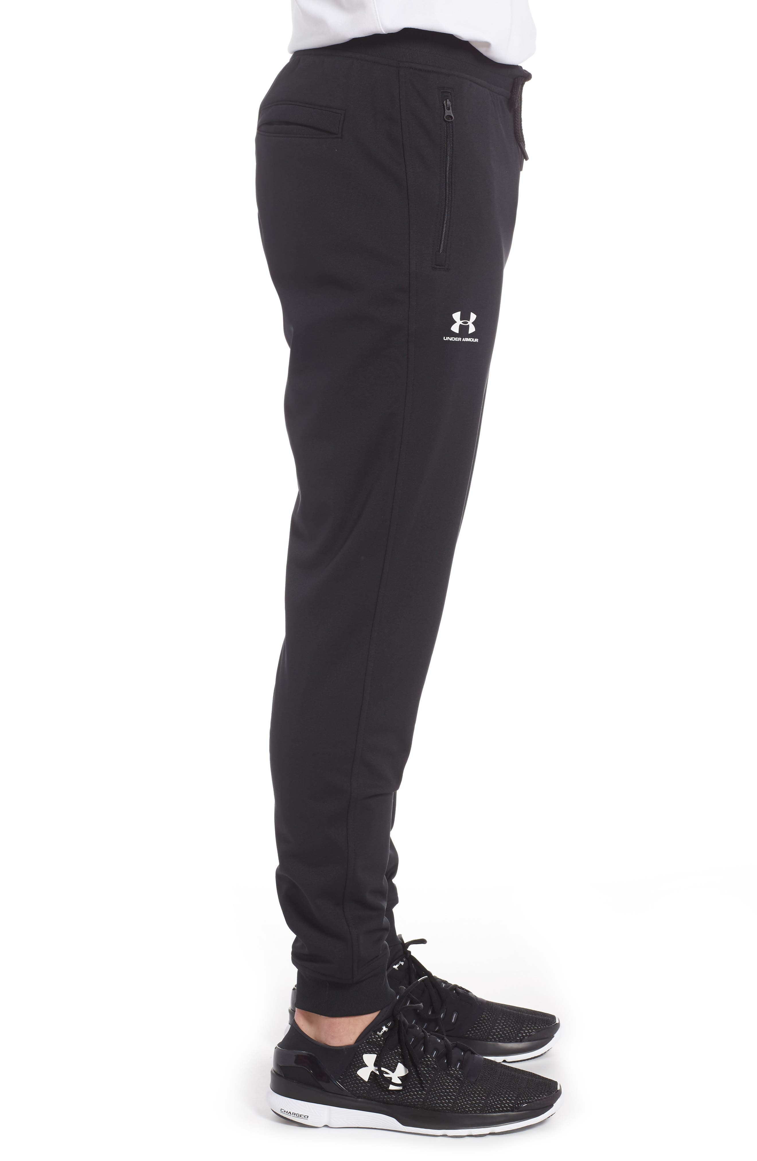 Sportstyle Knit Jogger Pants,                             Alternate thumbnail 3, color,                             Black/ White