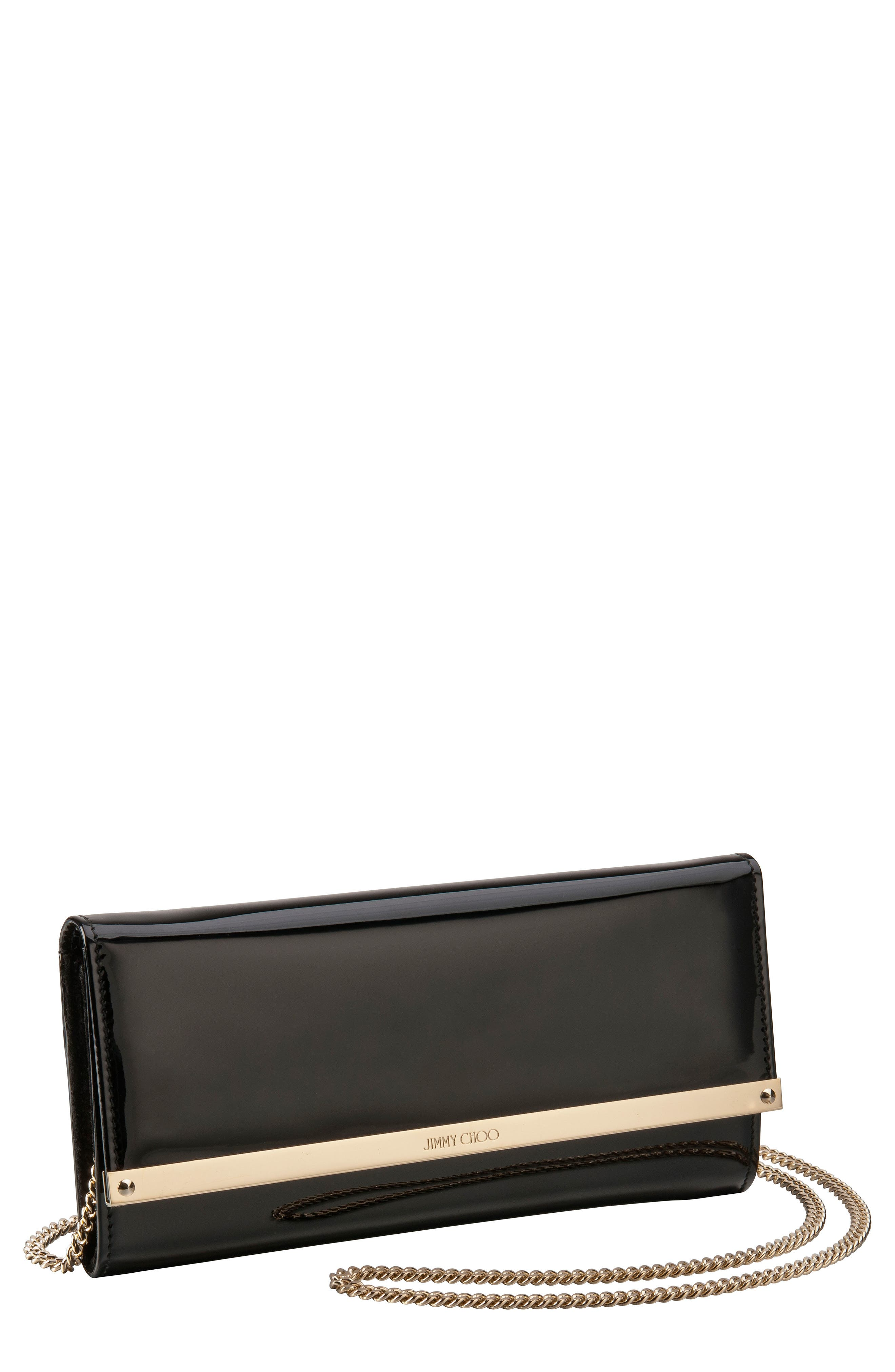 Milla Leather Wallet on a Chain,                         Main,                         color, Black