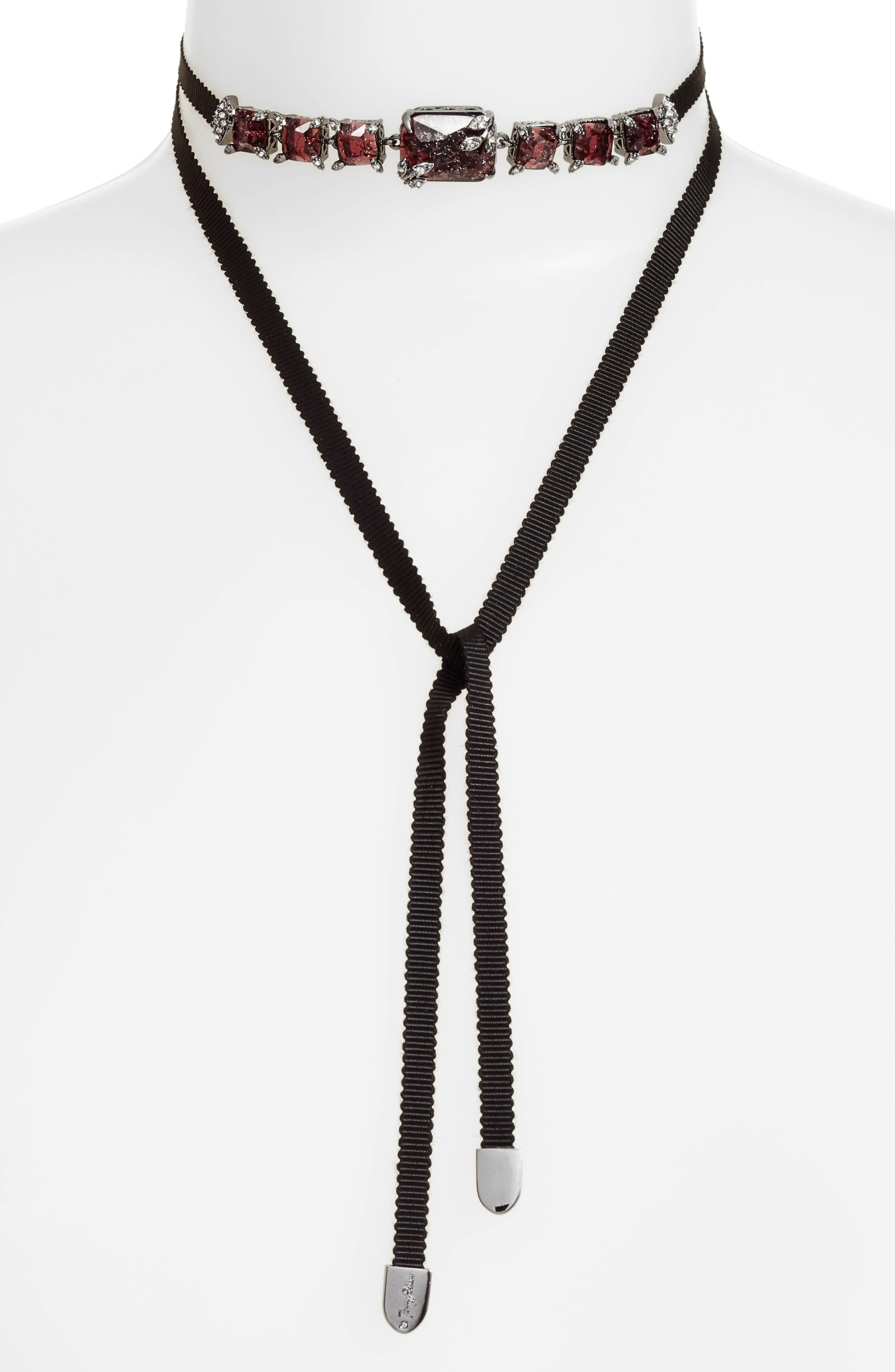 Tie Choker Necklace,                         Main,                         color, Burgundy