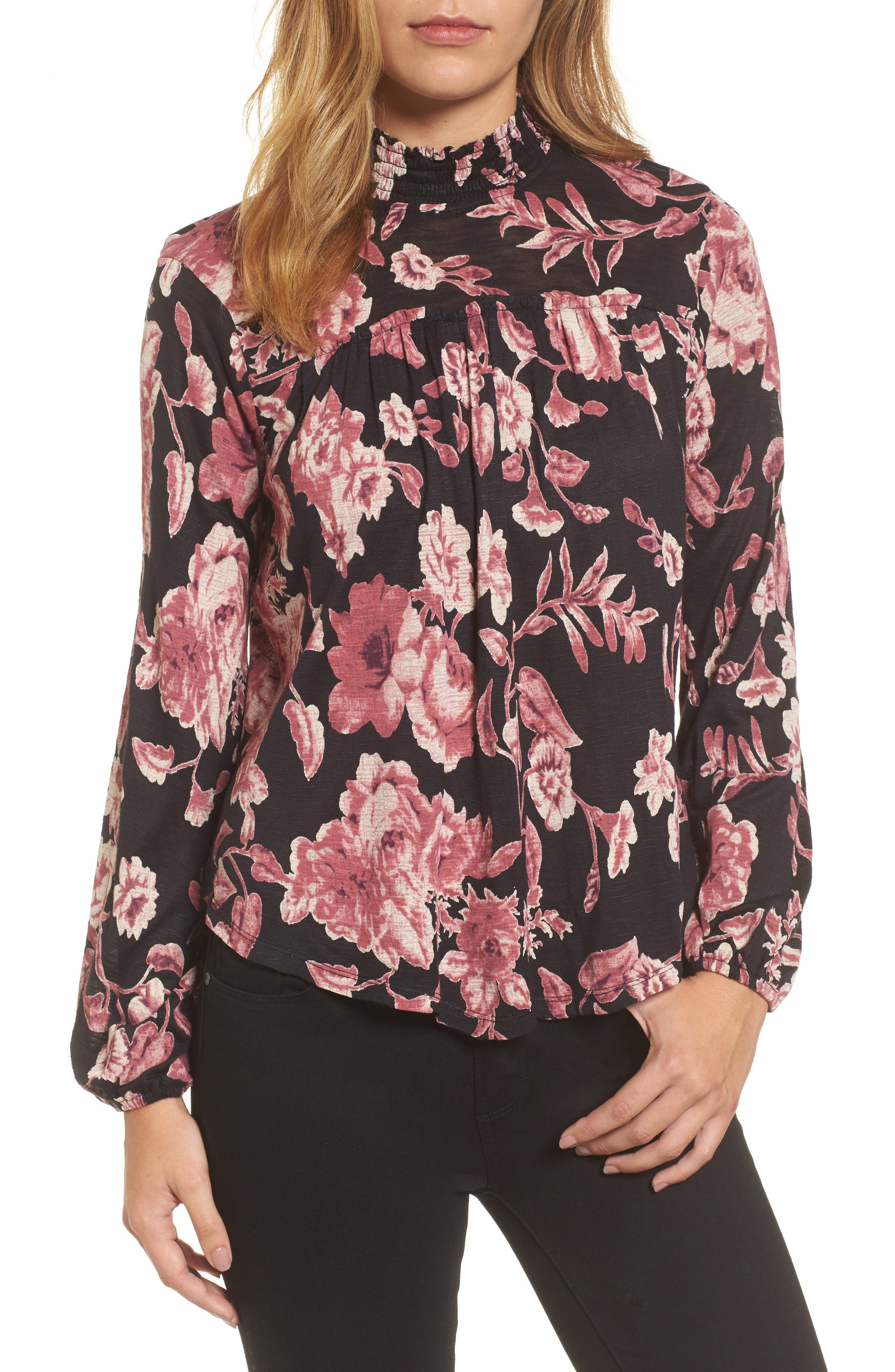 Smock Neck Floral Top,                             Main thumbnail 1, color,                             Black Multi