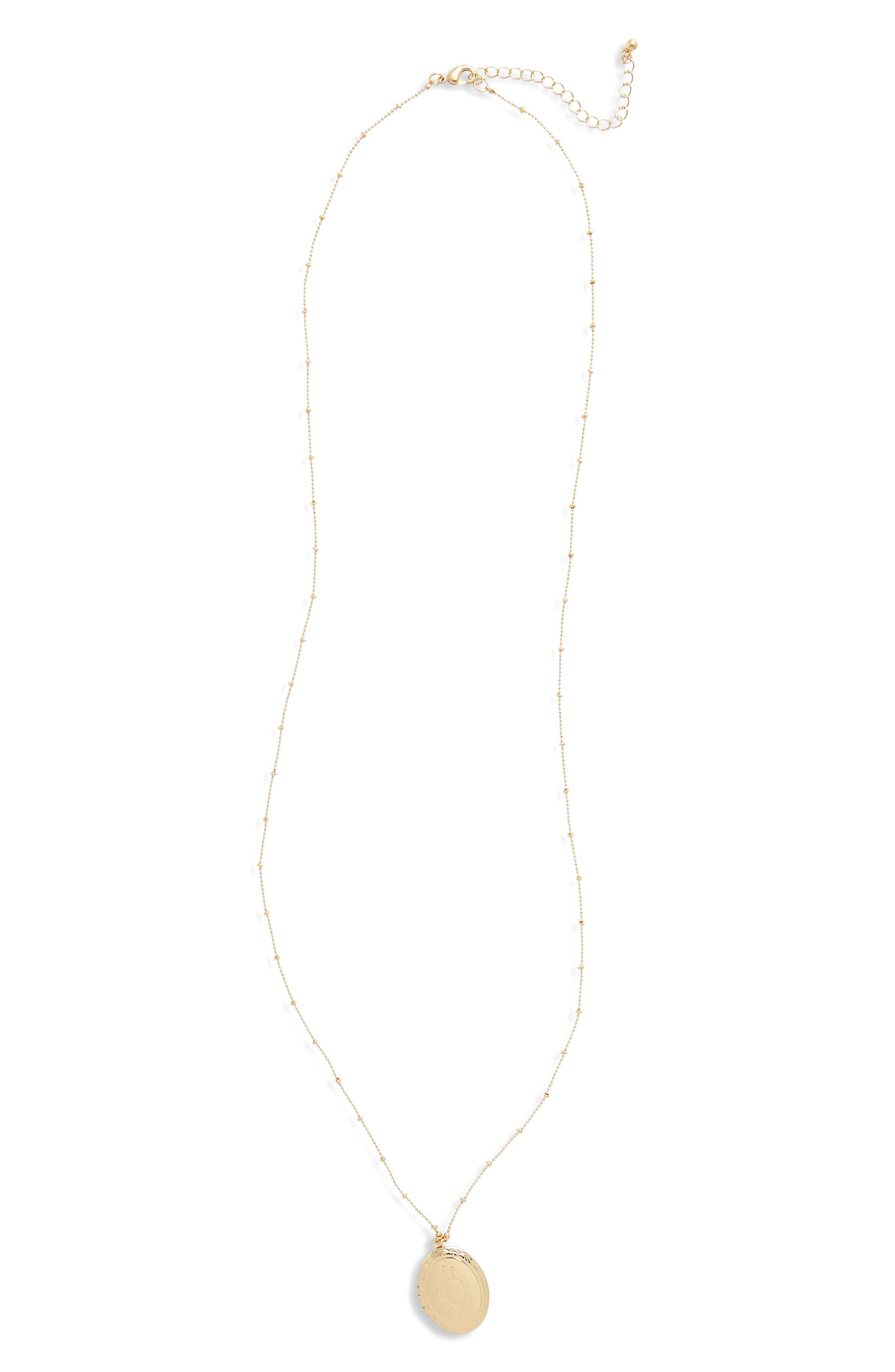 Locket Necklace,                         Main,                         color, Gold/ Crystal