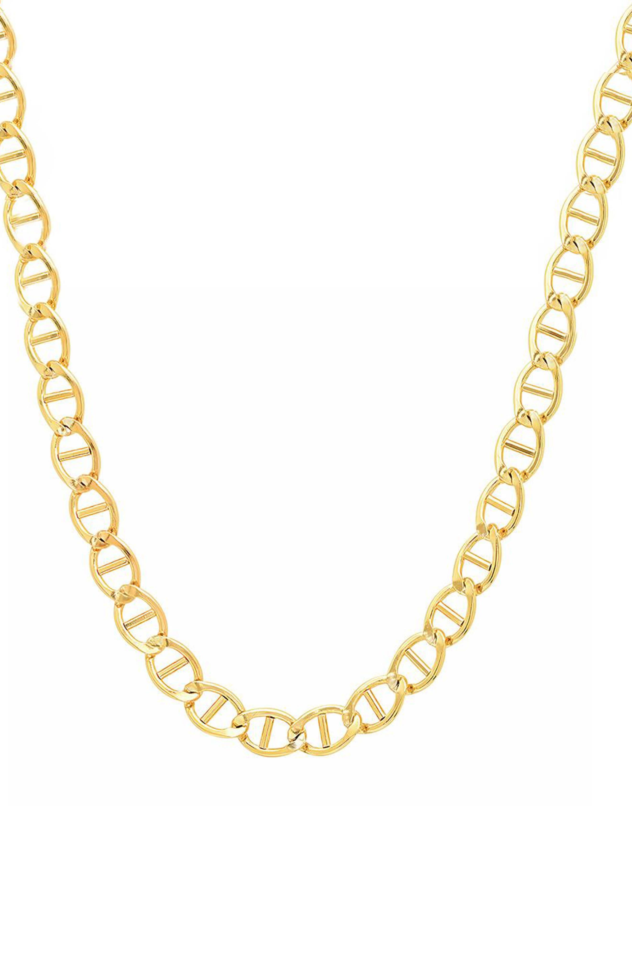 x Rashida Jones Mariner Chain Necklace,                             Main thumbnail 1, color,                             Yellow Gold