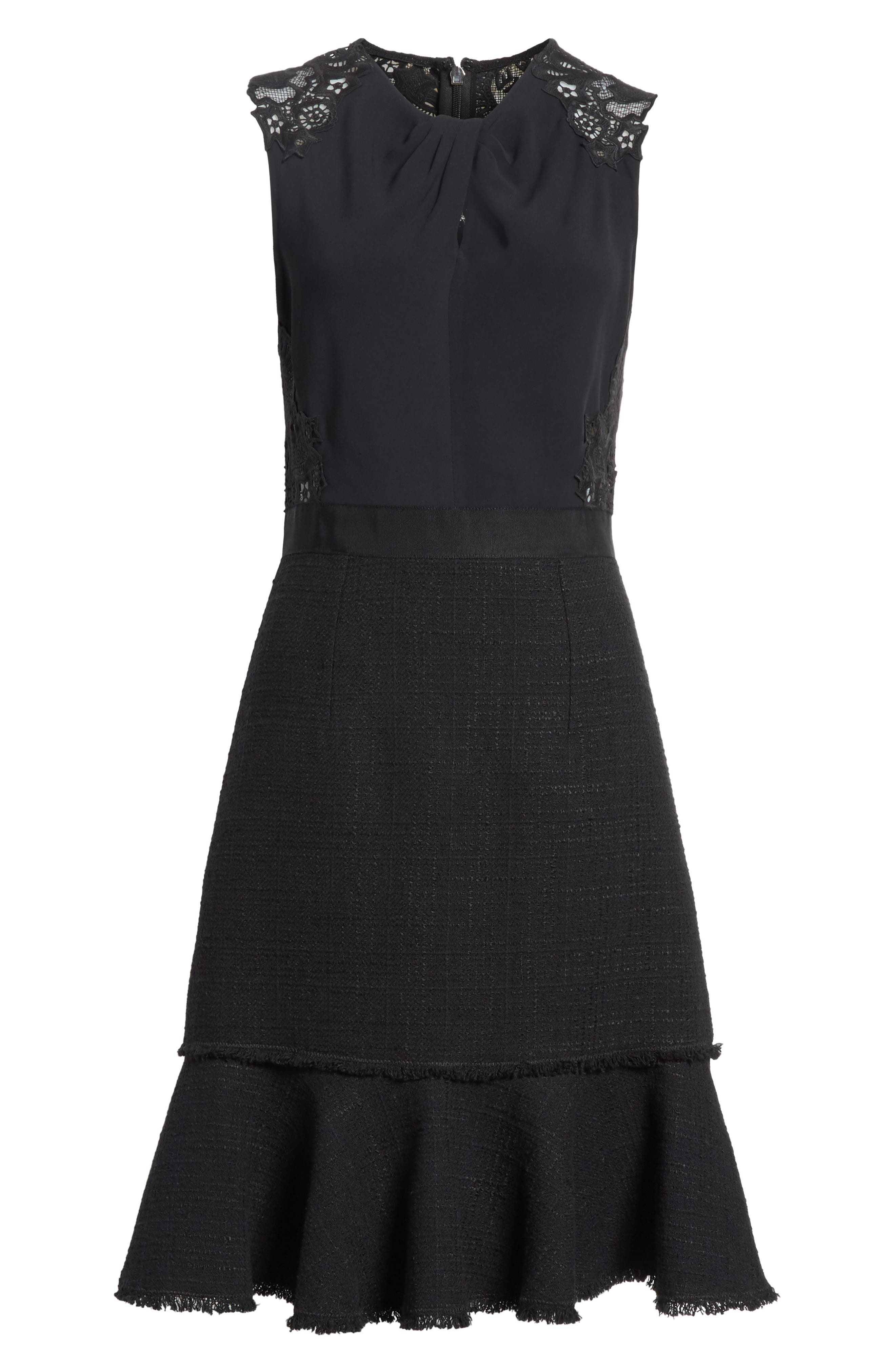 Lace Back Crepe & Tweed Dress,                             Alternate thumbnail 6, color,                             Black